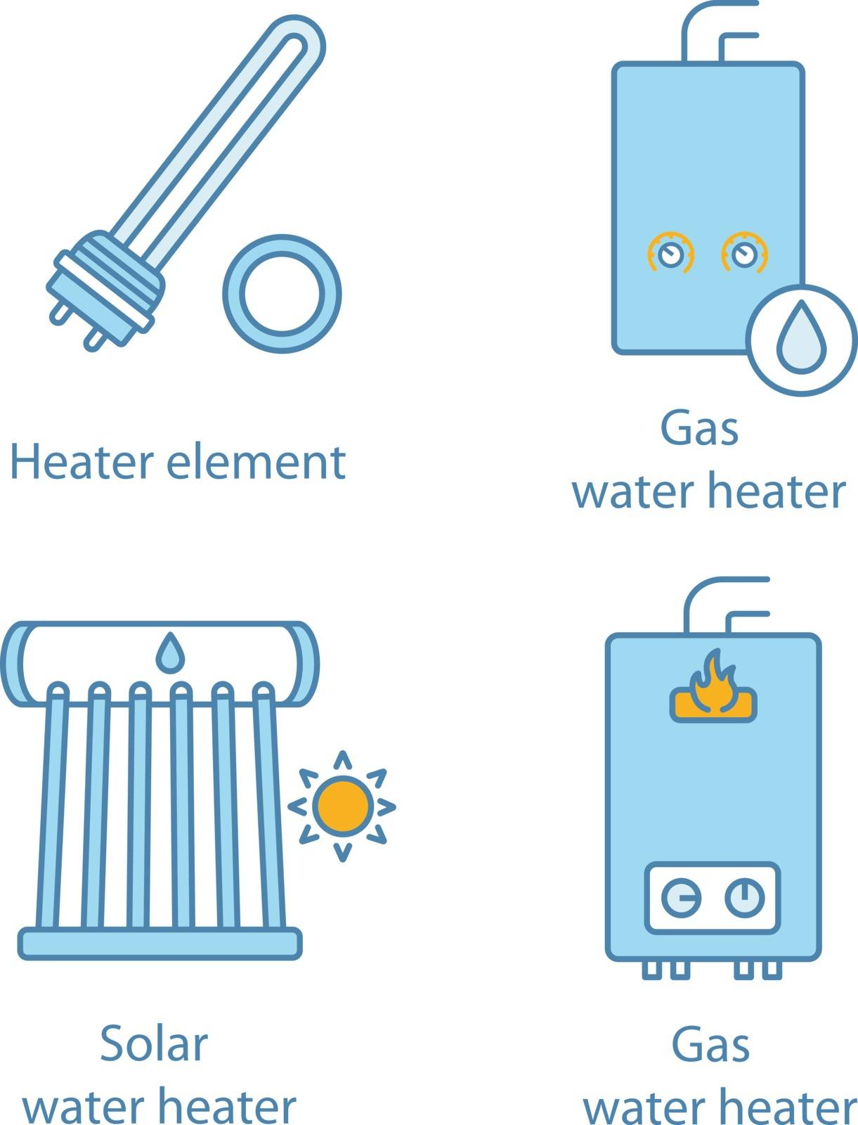 Heating color icons set. Electric and gas water heaters, heating boiler, industrial water heater. Isolated vector illustrations