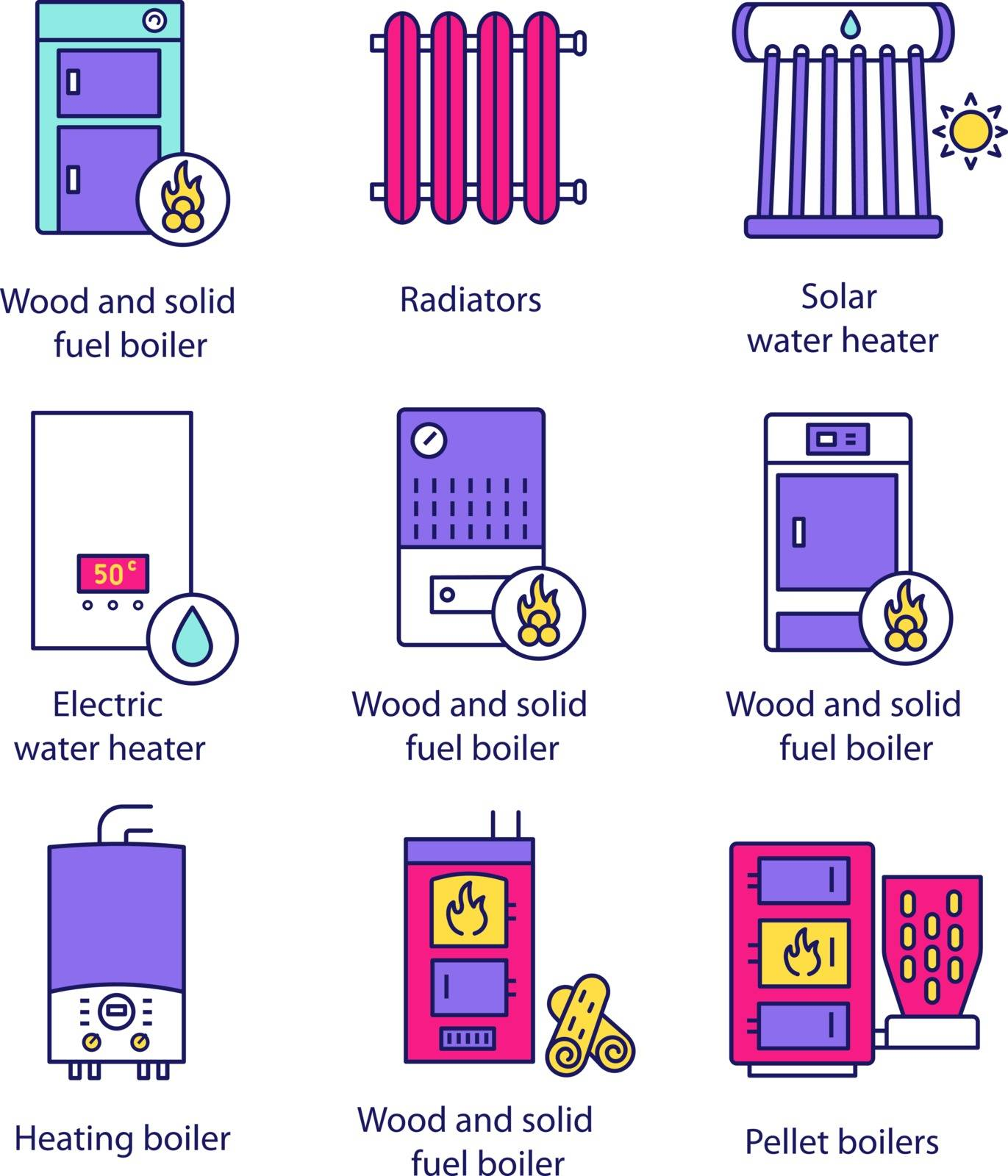 Heating color icons set. Boilers, radiators, water heaters. Gas, electric, solid fuel, pellet, solar boilers. Commercial, industrial and domestic central heating systems. Isolated vector illustrations