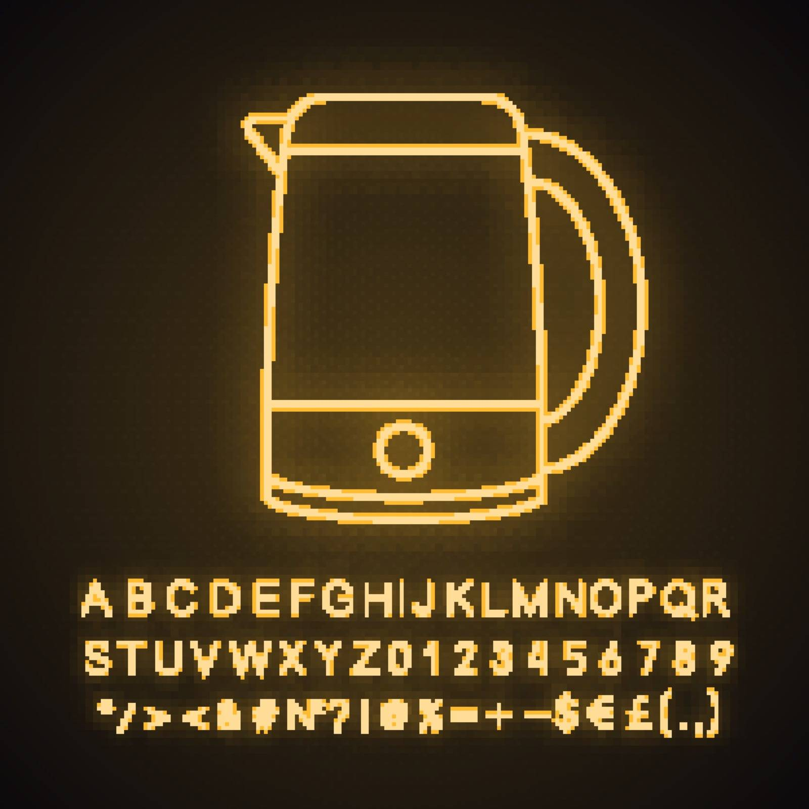 Electric kettle neon light icon. Hot water pot. Kitchen appliance. Glowing sign with alphabet, numbers and symbols. Vector isolated illustration