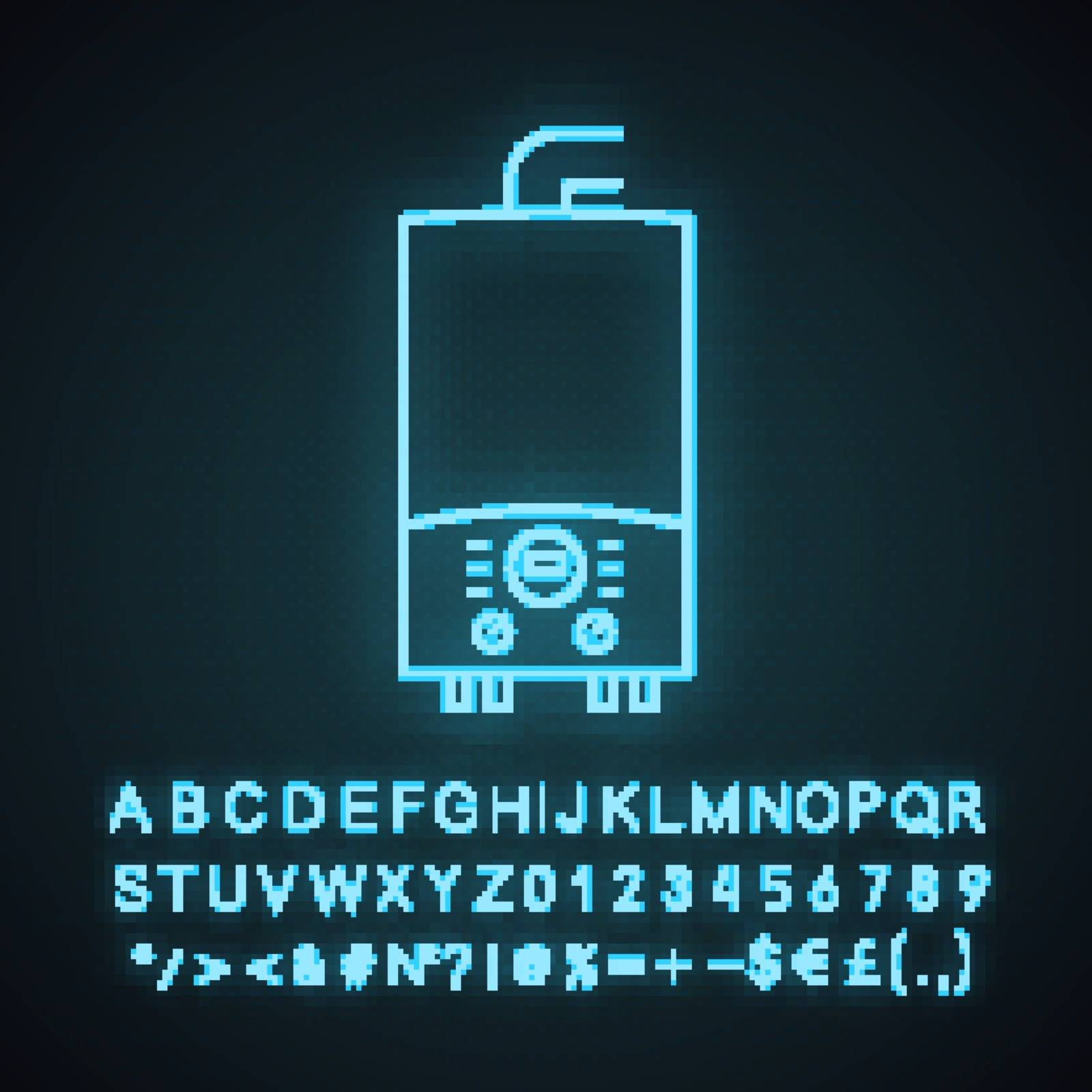 Electric heating boiler neon light icon. House central heater. Heating system. Glowing sign with alphabet, numbers and symbols. Vector isolated illustration