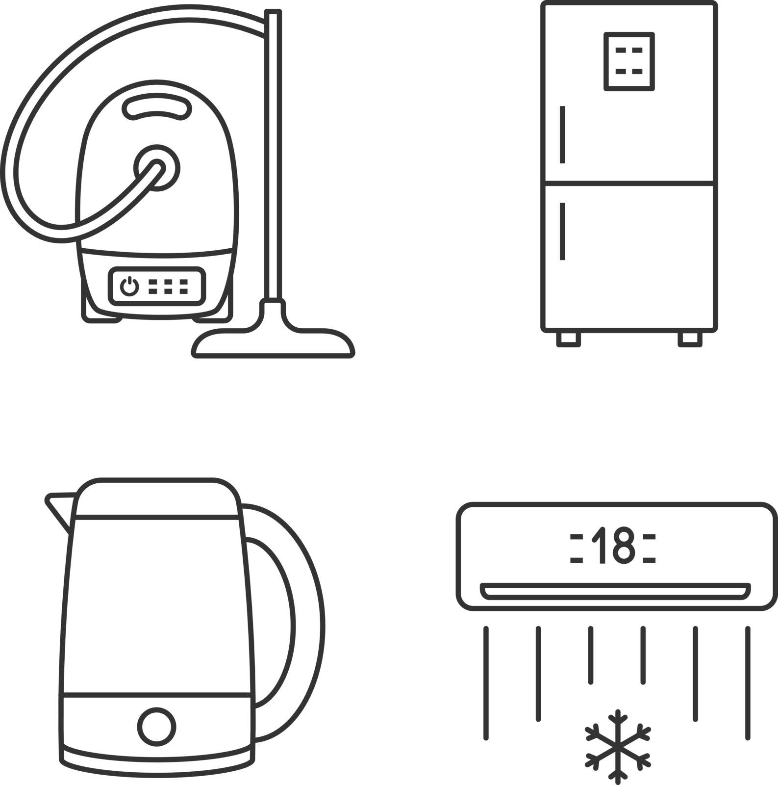 Household appliance linear icons set. Vacuum cleaner, fridge, electric kettle, air conditioner. Thin line contour symbols. Isolated vector outline illustrations. Editable stroke