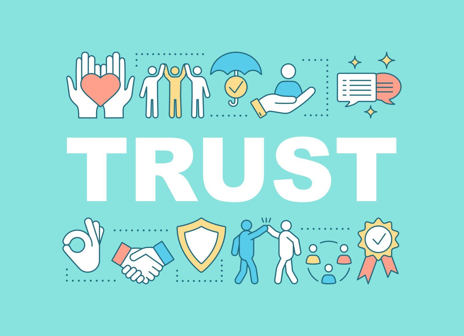 Trust word concepts banner. Charity, insurance, friendship. Presentation, website. Isolated lettering typography idea with linear icons. Vector outline illustration