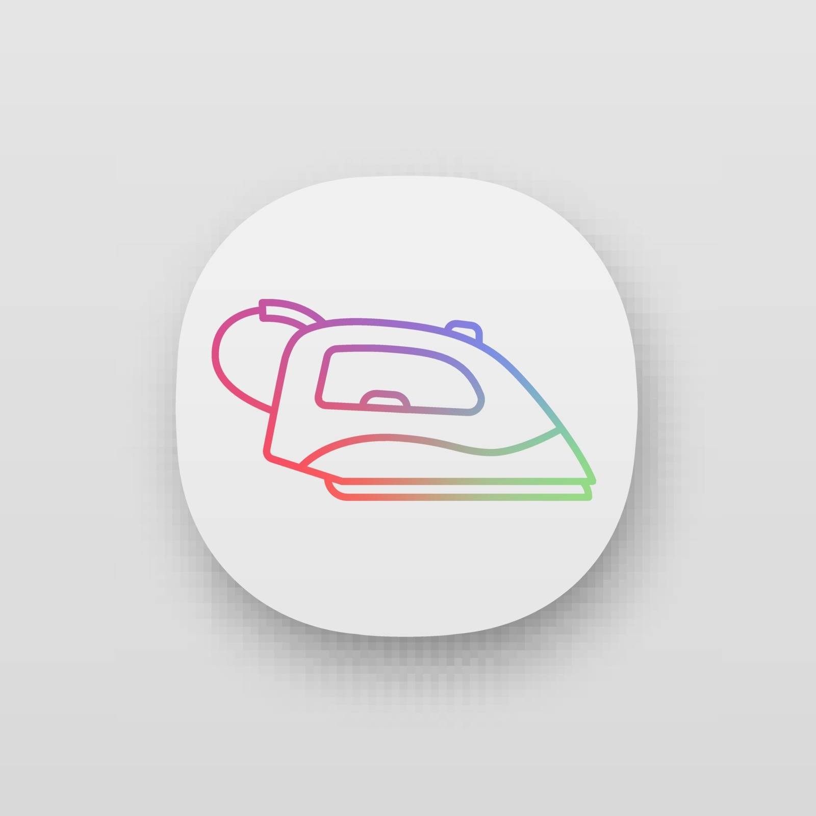 Steam iron app icon. UI UX user interface. Household appliance. Web or mobile application. Vector isolated illustration