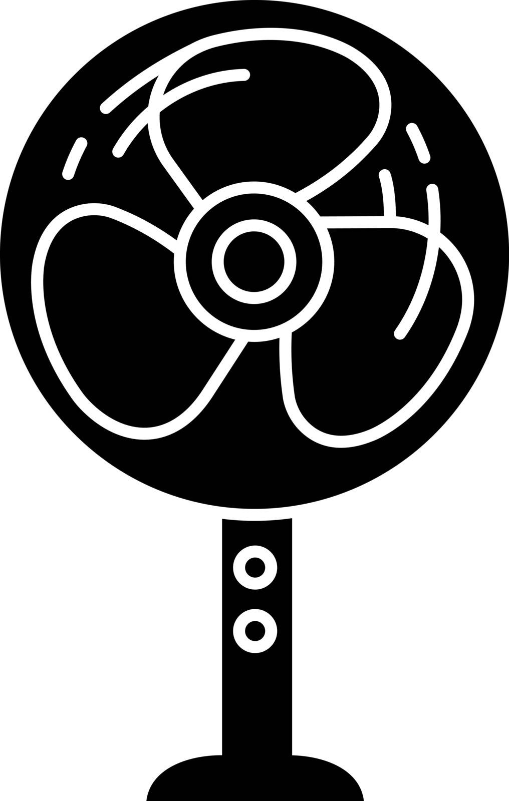Stand floor fan glyph icon. Silhouette symbol. Home cooling fan. Household appliance. Negative space. Vector isolated illustration