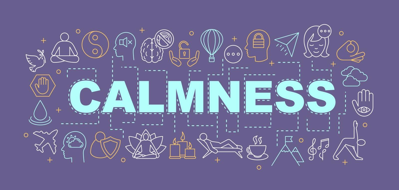 Calmness word concepts banner. Mind freedom. Wellness, peace. Mindfulness. Presentation, website. Isolated lettering typography idea with linear icons. Vector outline illustration