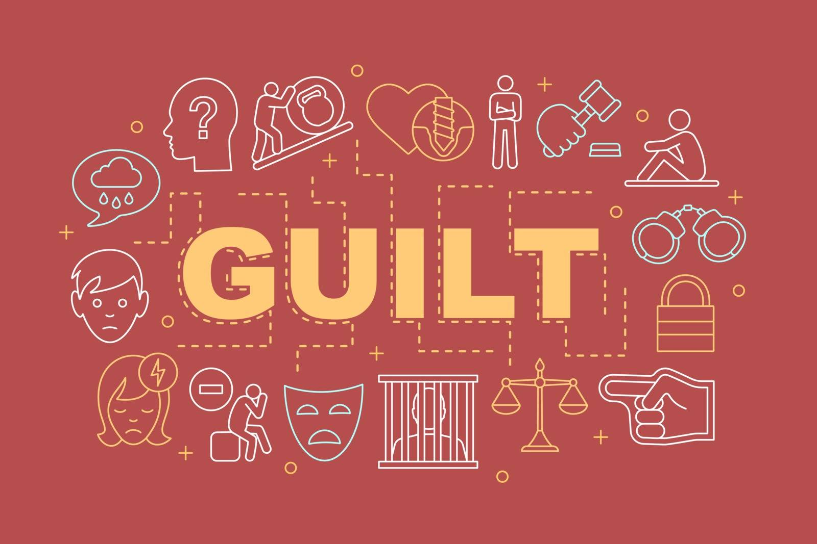 Guilt word concepts banner. Presentation, website. Crime, broken heart, sadness. Isolated lettering typography idea with linear icons. Vector outline illustration