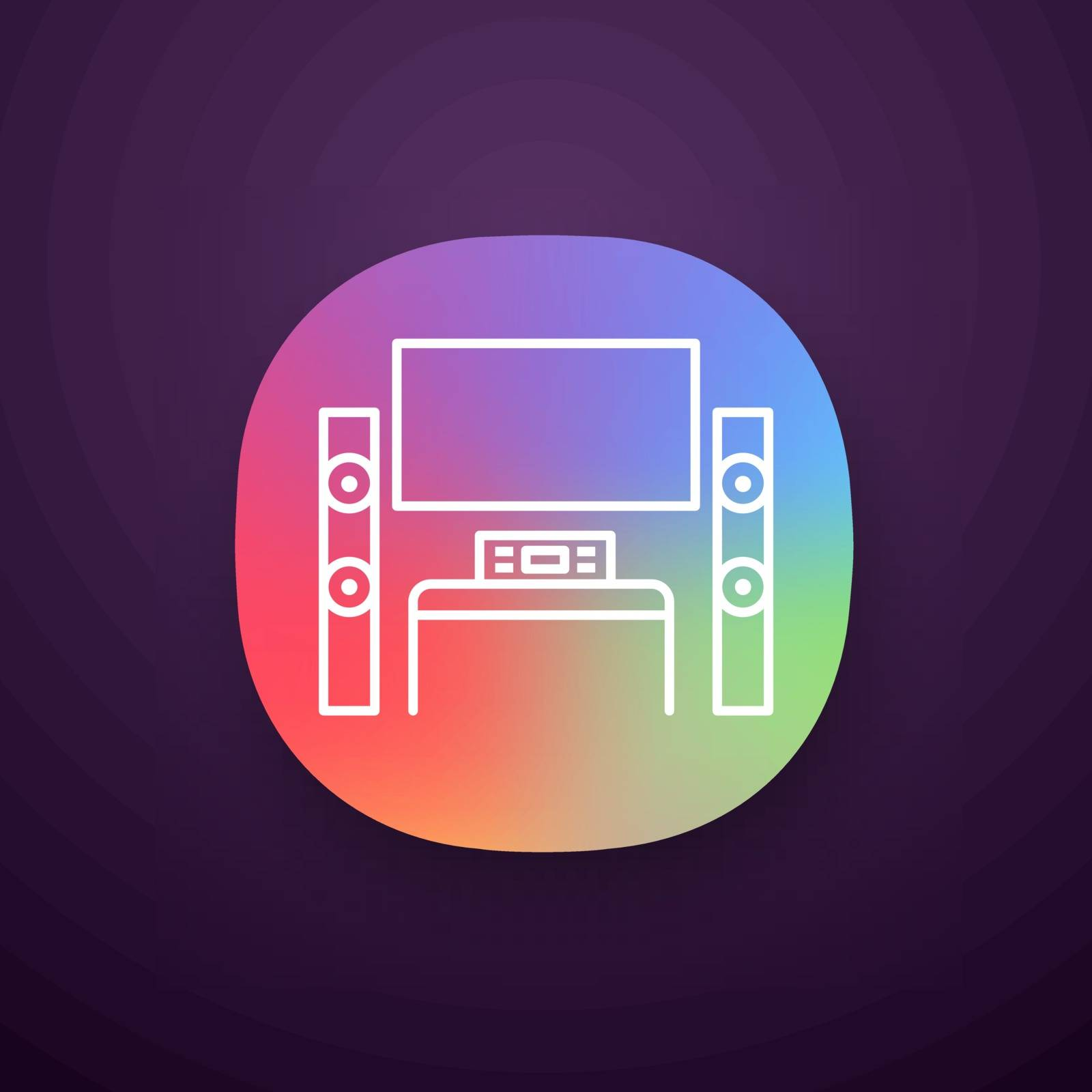 Home theater system with TV app icon. TV set with audio system. Home cinema. Television and loudspeakers. Household appliance. UI UX interface. Web or mobile application. Vector isolated illustration