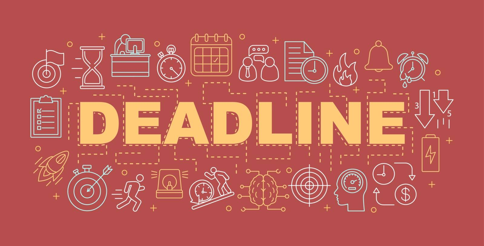Deadline word concepts banner. Time mangement. Timeliness. Presentation, website. Isolated lettering typography idea with linear icons. Vector outline illustration