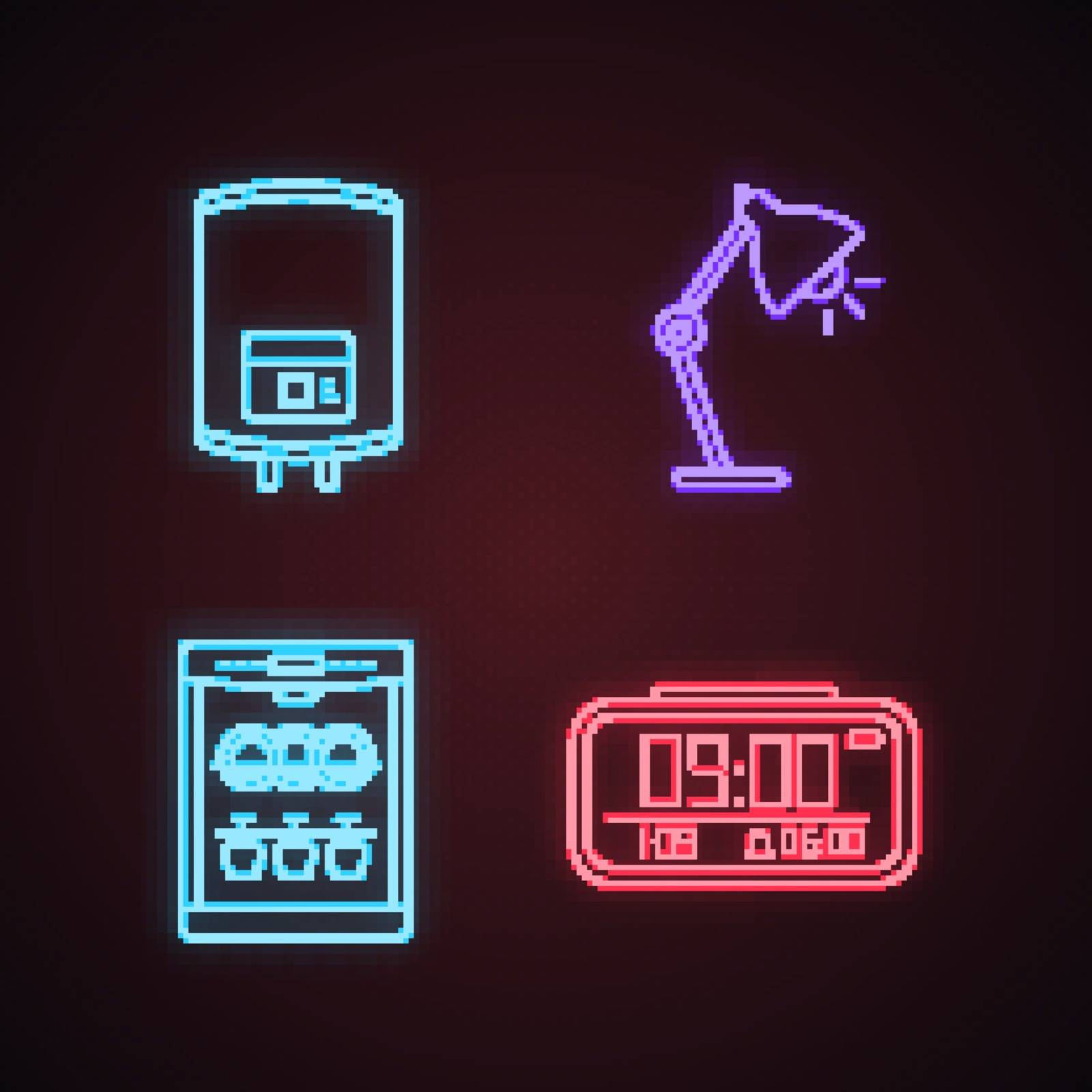 Household appliance neon light icons set. Electric water heater, table lamp, dishwasher, digital clock. Glowing signs. Vector isolated illustrations