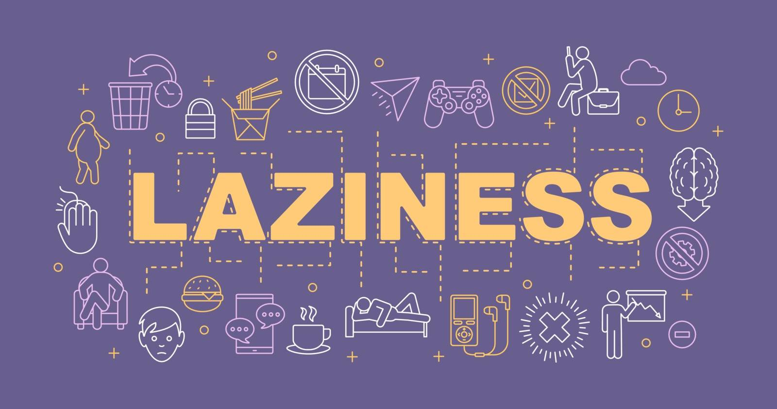 Laziness word concepts banner. Procrastination. Wasting time. Presentation, website. Isolated lettering typography idea with linear icons. Vector outline illustration