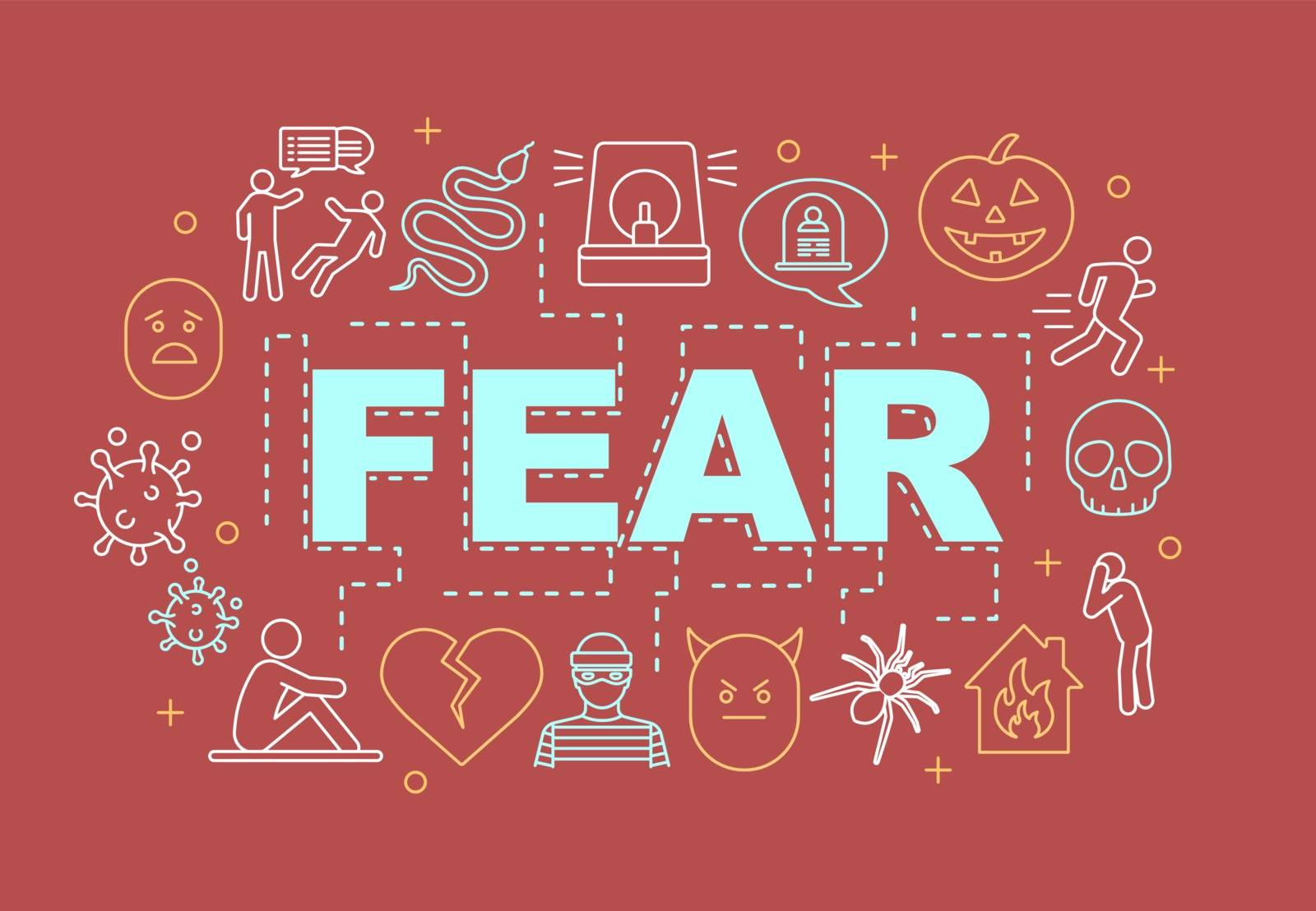 Fear word concepts banner. Pain, harm, threat of danger. Presentation, website. Fearfulness. Isolated lettering typography idea with linear icons. Vector outline illustration