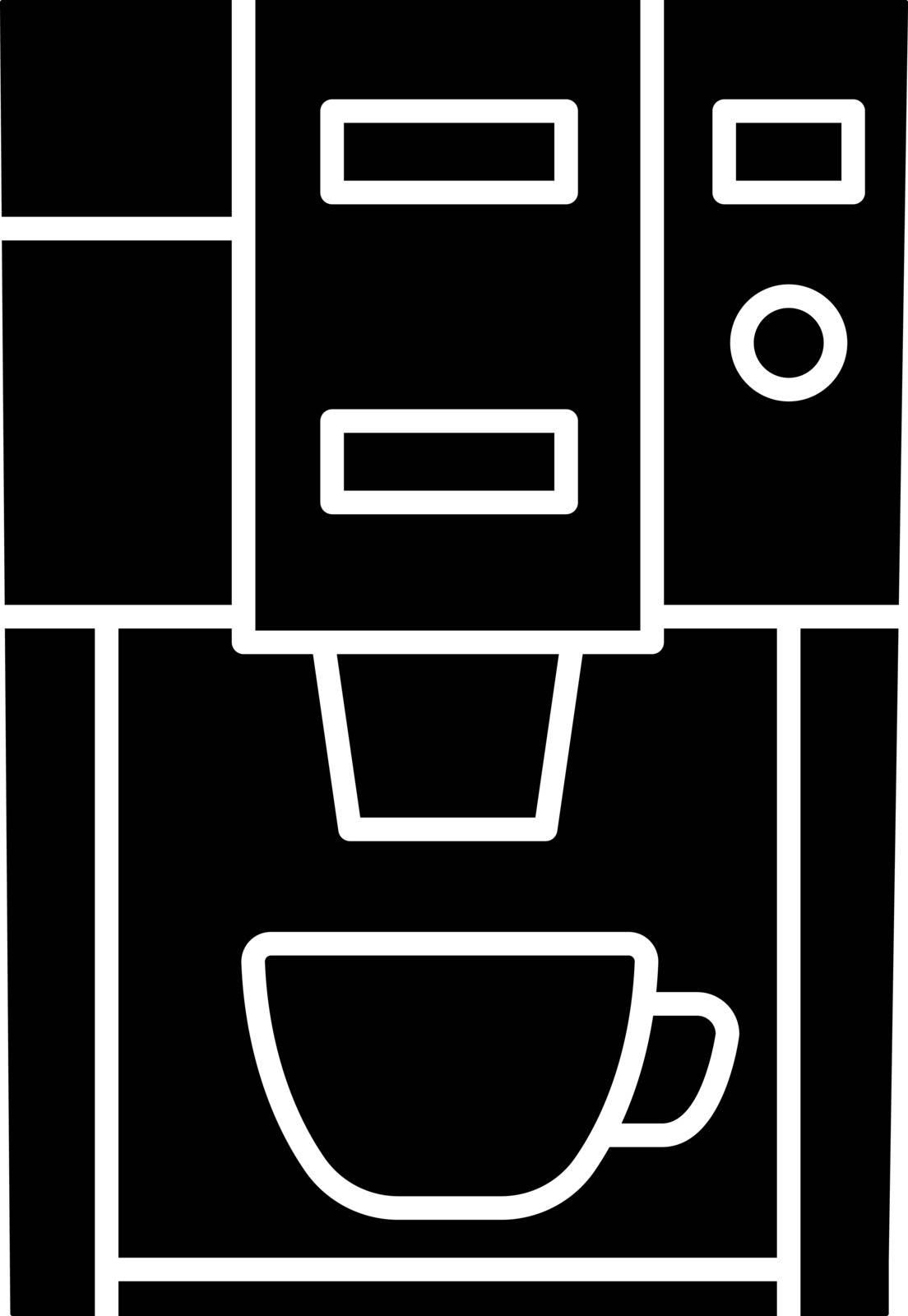 Coffee machine glyph icon. Electric coffeemaker. Coffee house or cafe appliance. Silhouette symbol. Negative space. Vector isolated illustration