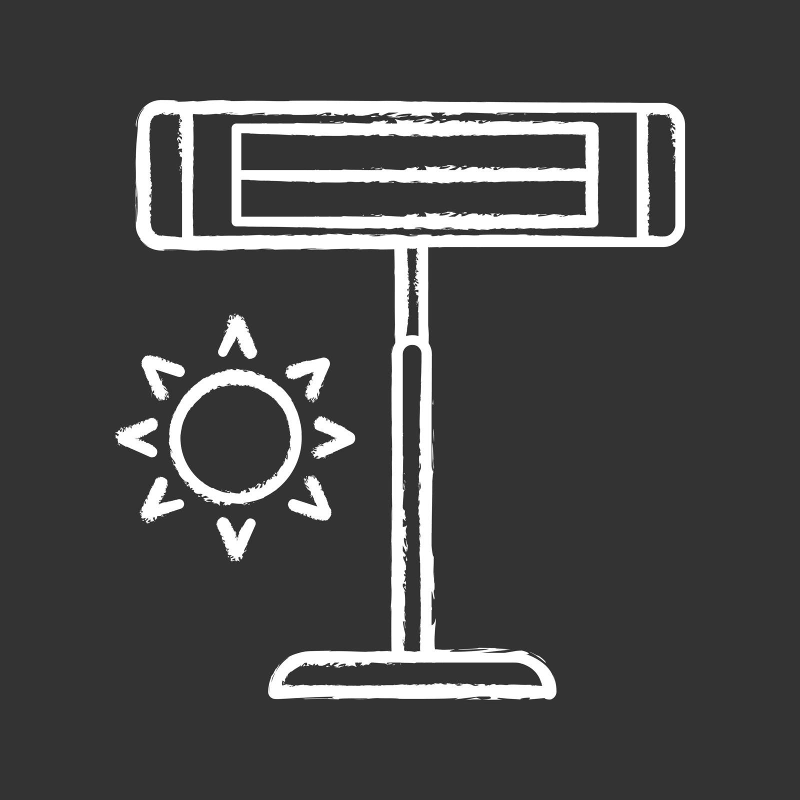 Infrared heater chalk icon. Pedestal electric heater. Household appliance. IR heating lamp. Isolated vector chalkboard illustration