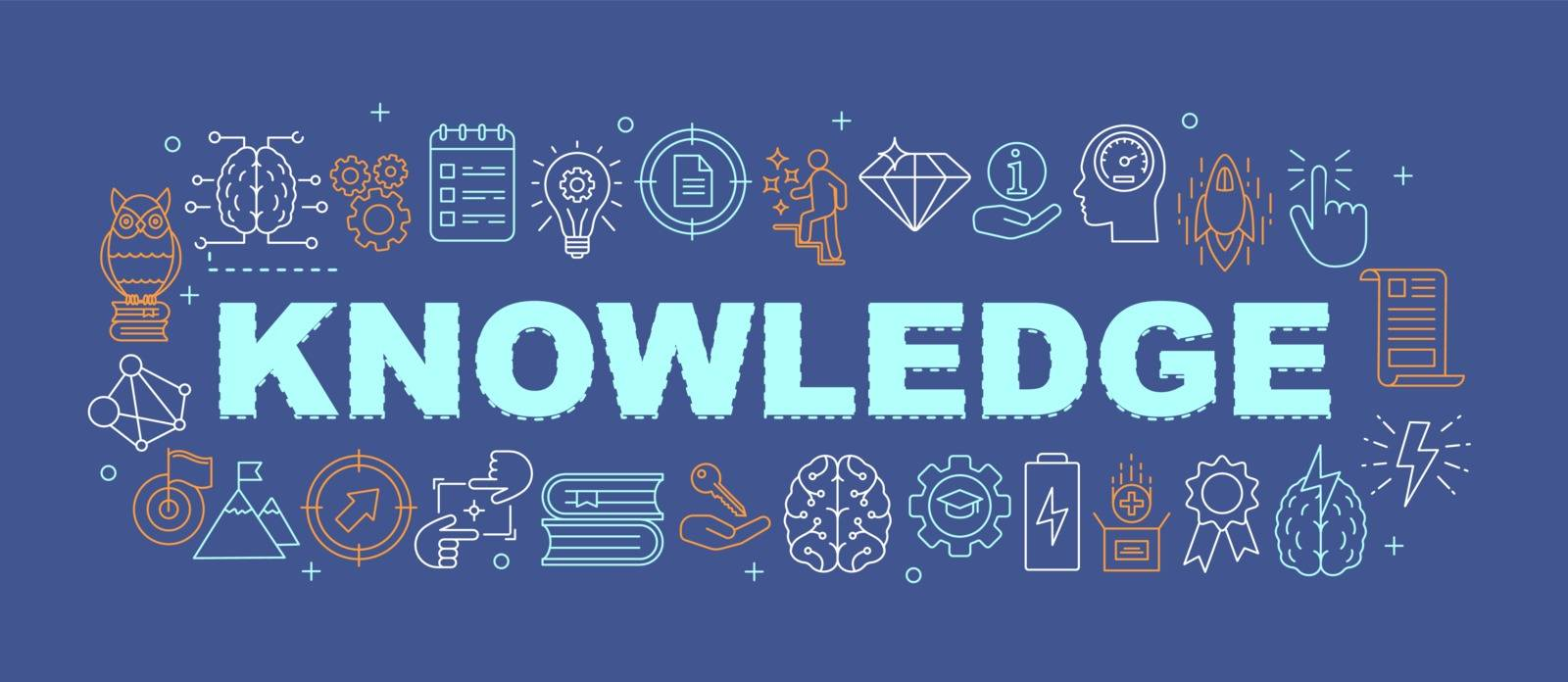 Knowledge word concepts banner. Learning process. Studying. Presentation, website. Brainstorming. Idea generation. Isolated lettering typography idea with linear icons. Vector outline illustration