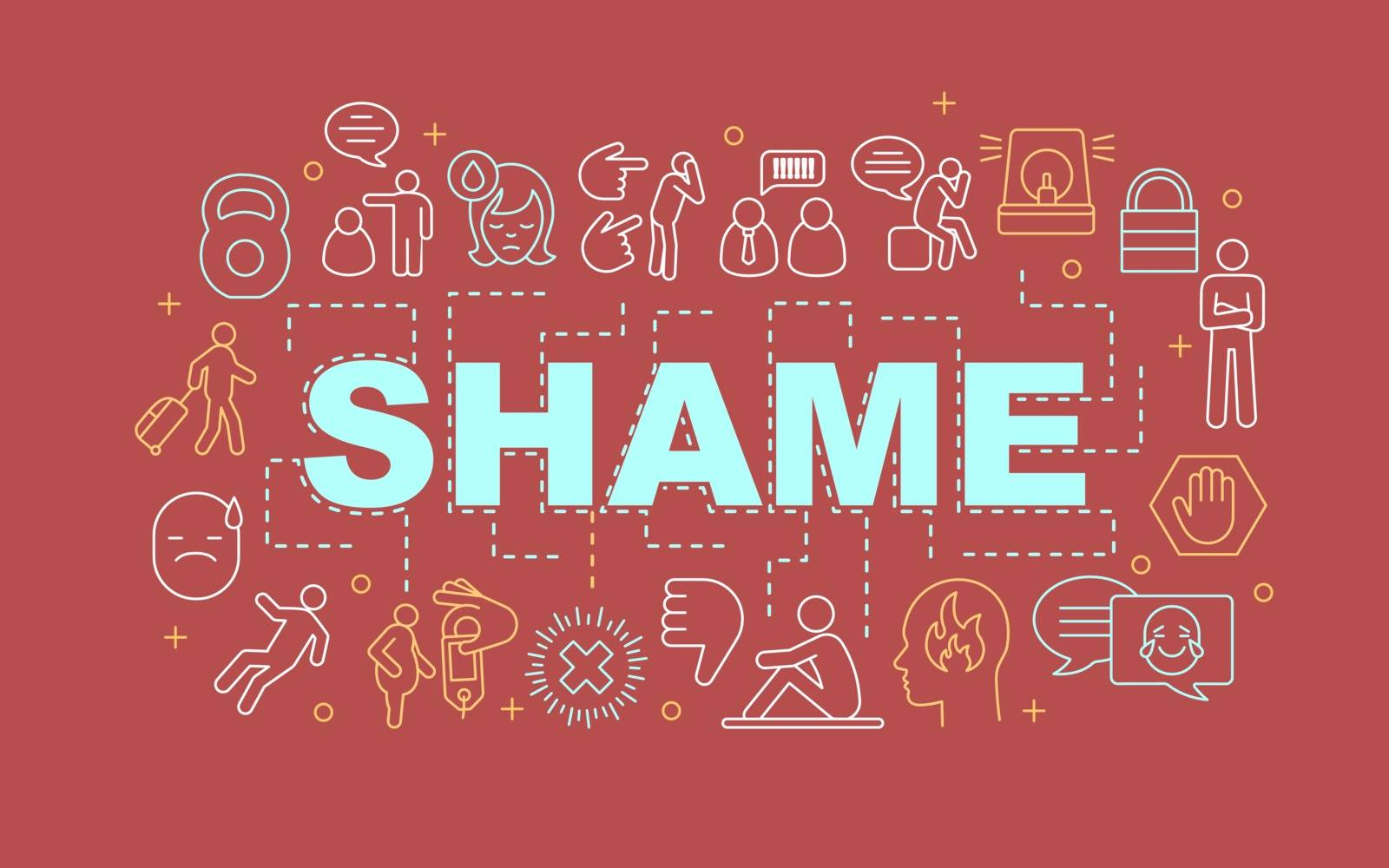 Shame word concepts banner. Suffering, distress, depression. Presentation, website. Isolated lettering typography idea with linear icons. Vector outline illustration