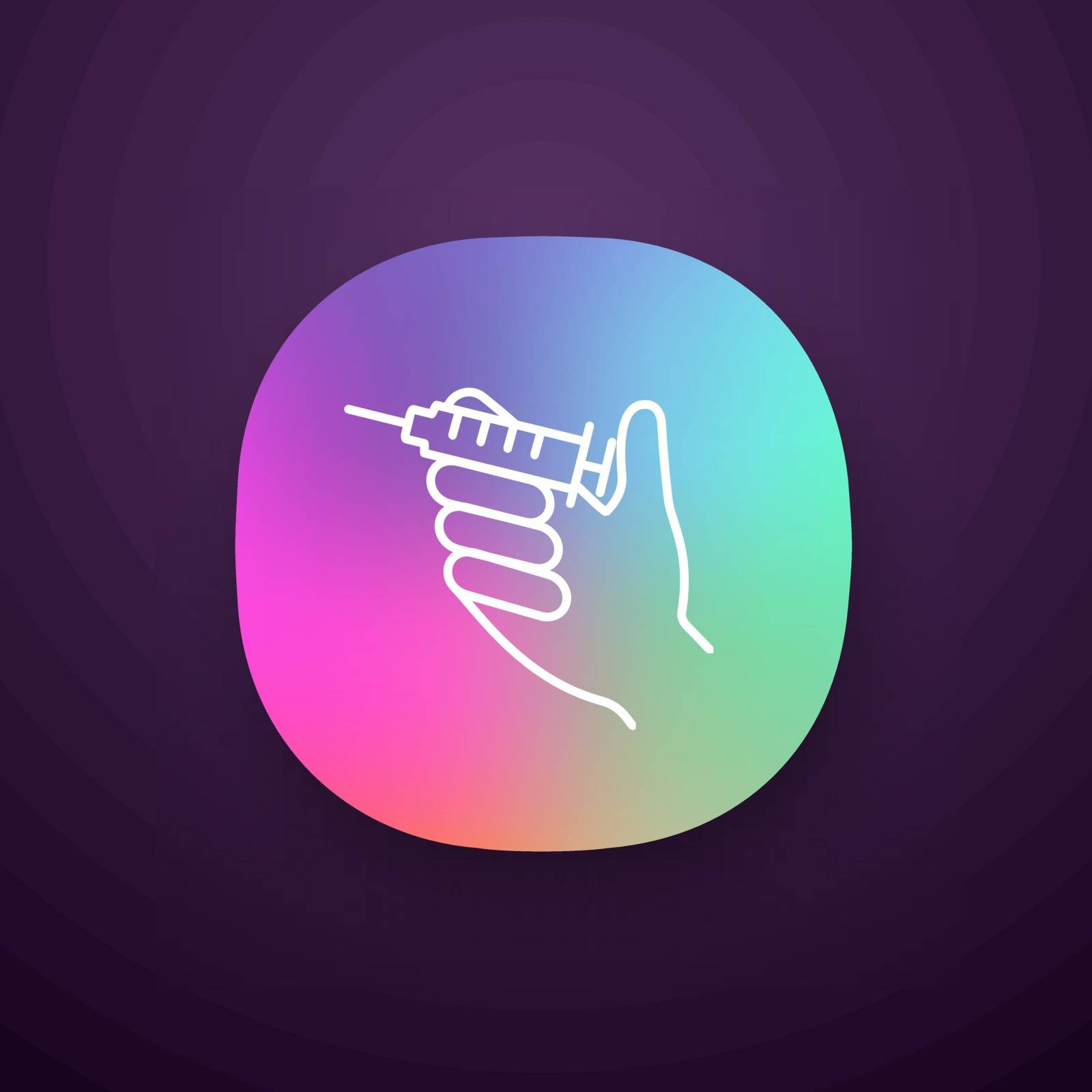 Injection app icon. UI UX user interface. Hand holding syringe. Doctor s hand. Neurotoxin injection. Vaccination. Treatment. Web or mobile application. Vector isolated illustration