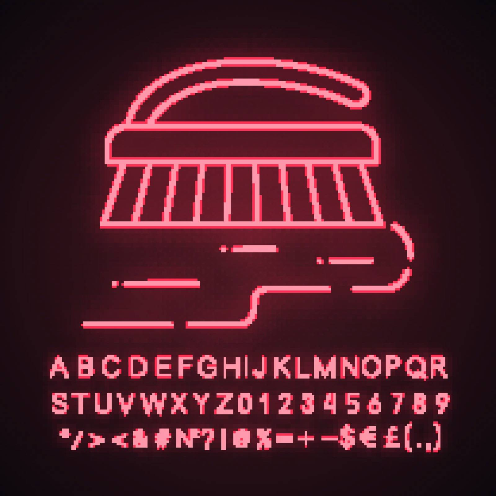 Scrub brush neon light icon. Carpet cleaning brush. Glowing sign with alphabet, numbers and symbols. Vector isolated illustration