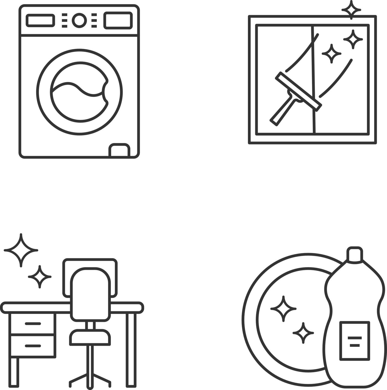 Cleaning service linear icons set. Washing machine, window cleaning, tidy table, dishwashing liquid. Thin line contour symbols. Isolated vector outline illustrations. Editable stroke