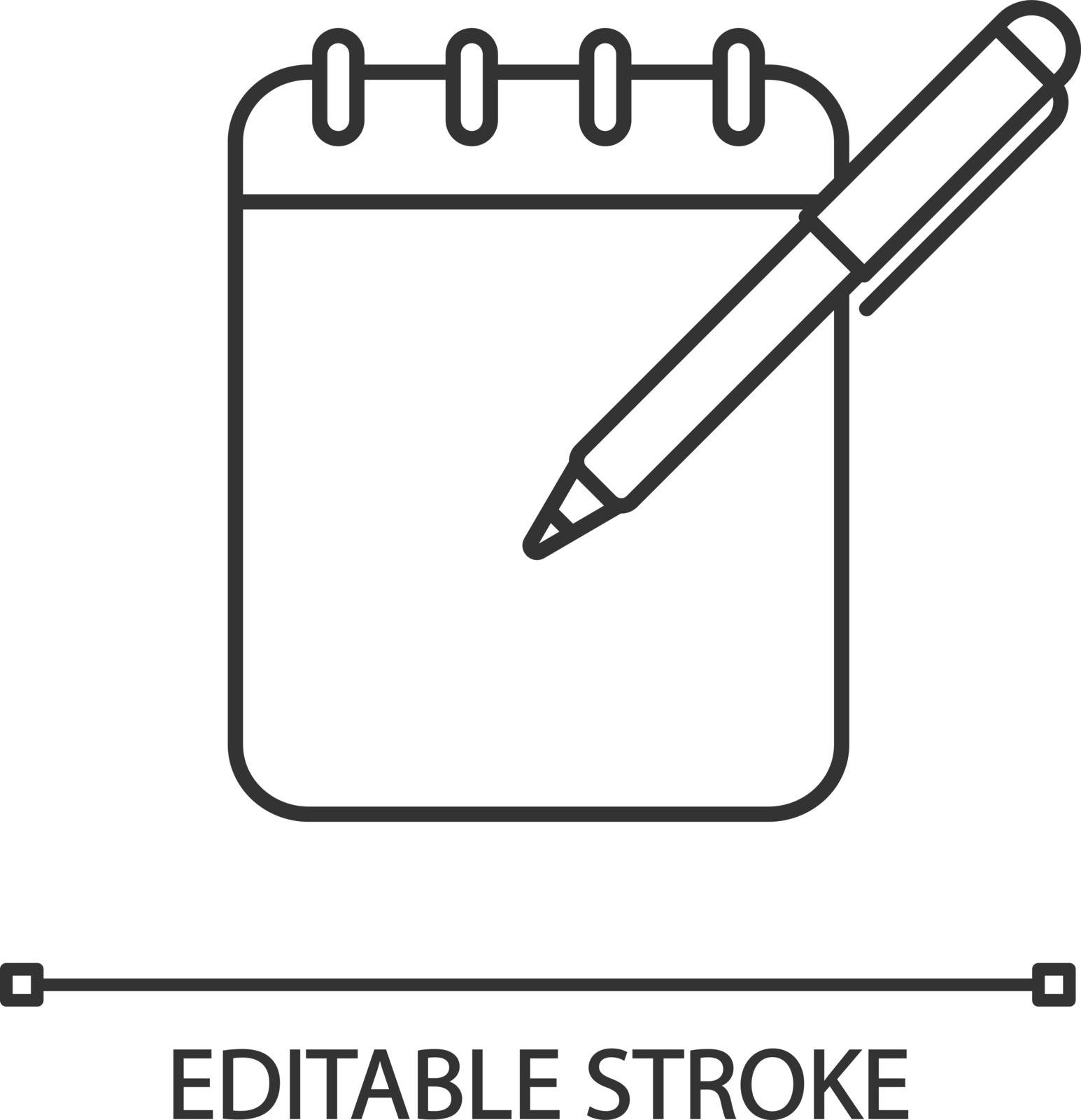 Notepad with pen linear icon. Taking notes. Thin line illustration. To do list. Planner. Action planning. Business plans, goals, tasks writing down. Contour symbol. Vector isolated outline drawing. Editable stroke