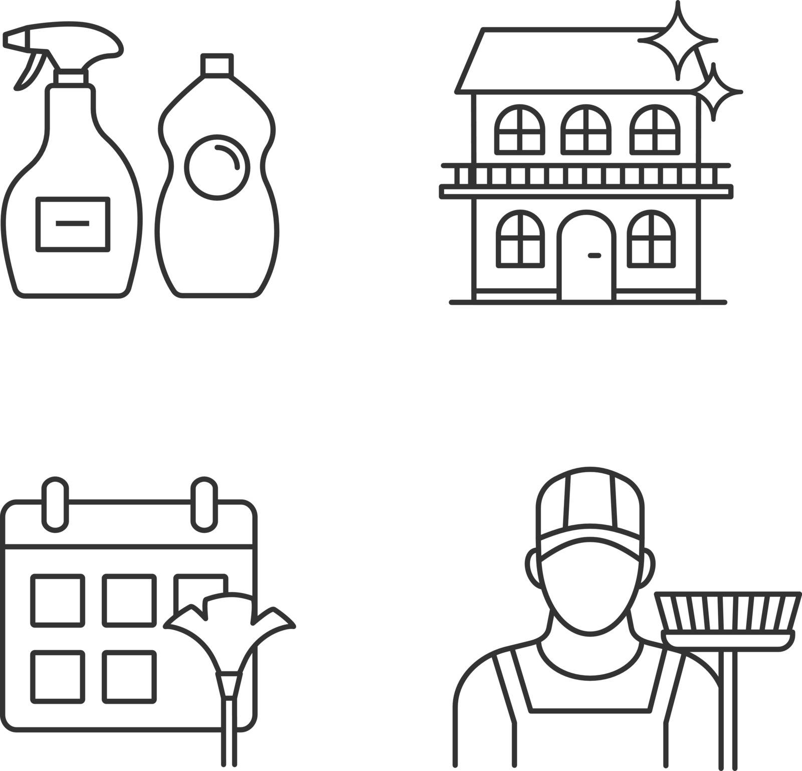 Cleaning service linear icons set. Sweeper, cleaning schedule, cleaners, cottage. Thin line contour symbols. Isolated vector outline illustrations. Editable stroke