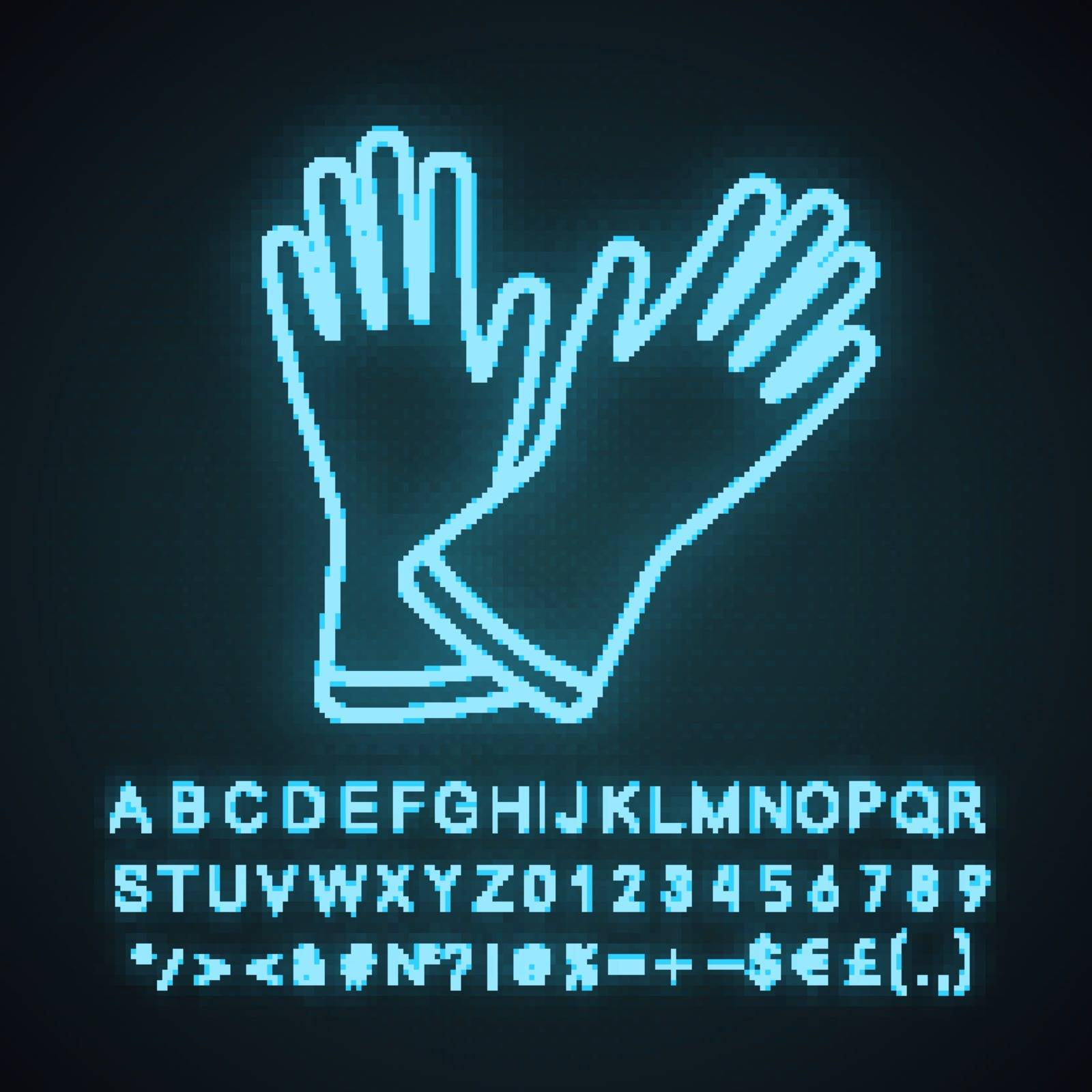Household gloves neon light icon. Medical latex gloves. Glowing sign with alphabet, numbers and symbols. Vector isolated illustration