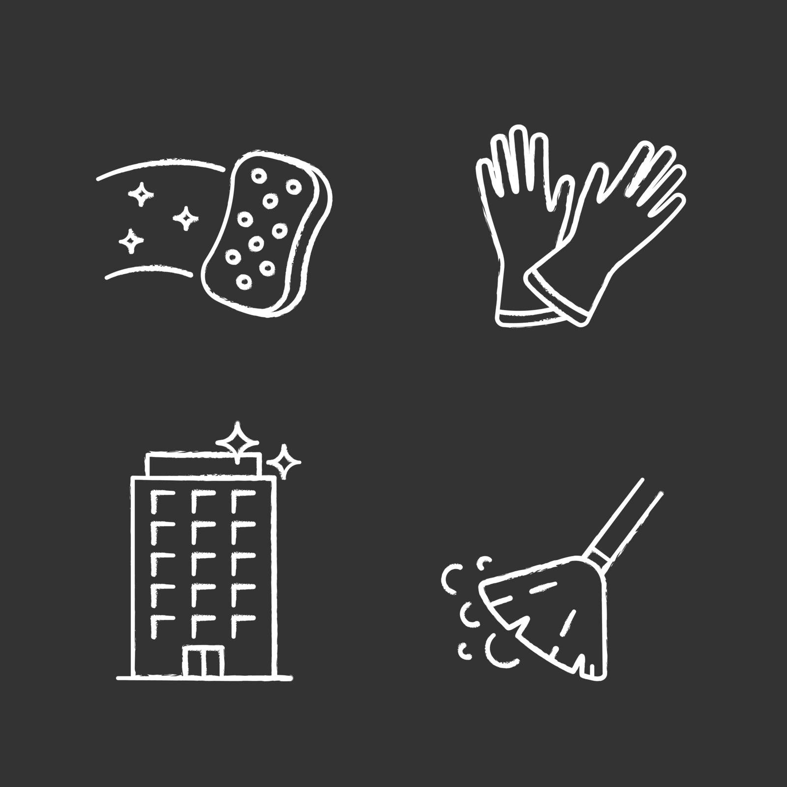Cleaning service chalk icons set. Household gloves, sweeping broom, sponge, clean offices. Isolated vector chalkboard illustrations
