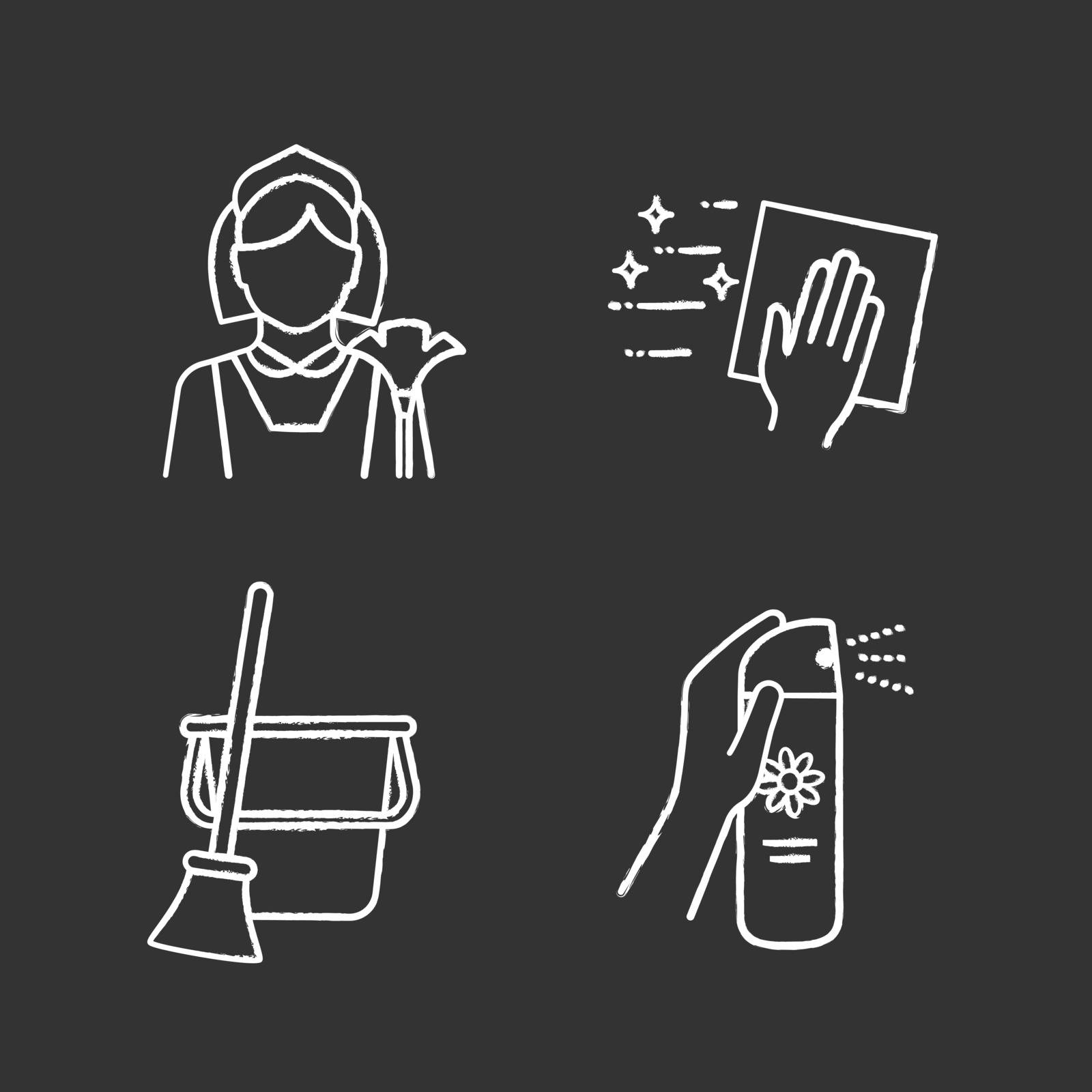 Cleaning service chalk icons set. Maid, cleaning napkin, broom and bucket, air freshener. Isolated vector chalkboard illustrations