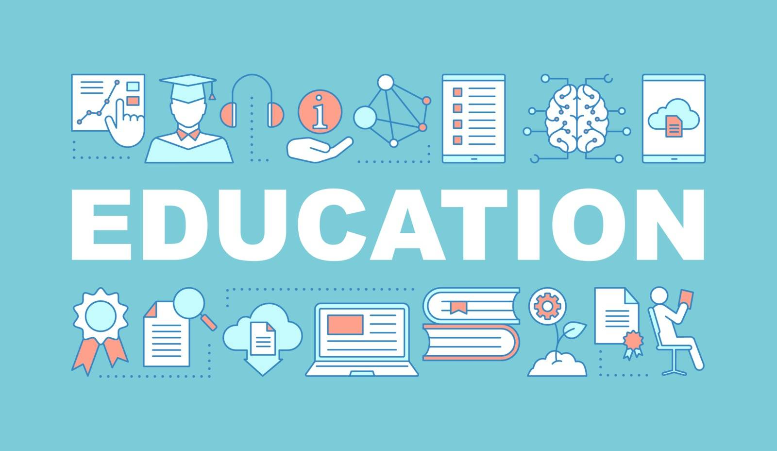Education word concepts banner. E-learning. Studying. Learning process. Presentation. Educational program. Gain knowledge. Isolated lettering typography with linear icons. Vector outline illustration