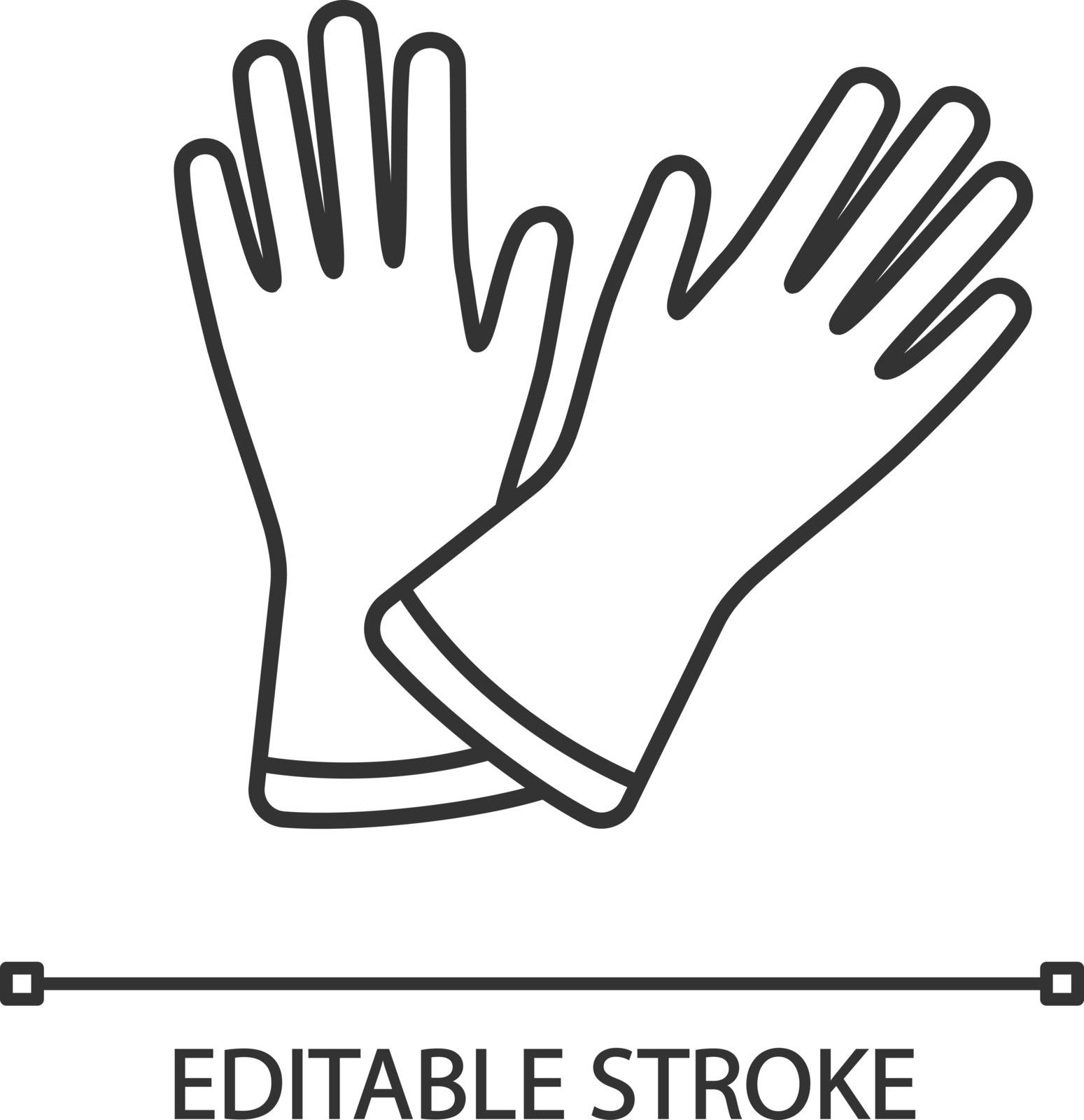 Household gloves linear icon. Thin line illustration. Medical latex gloves. Contour symbol. Vector isolated outline drawing. Editable stroke