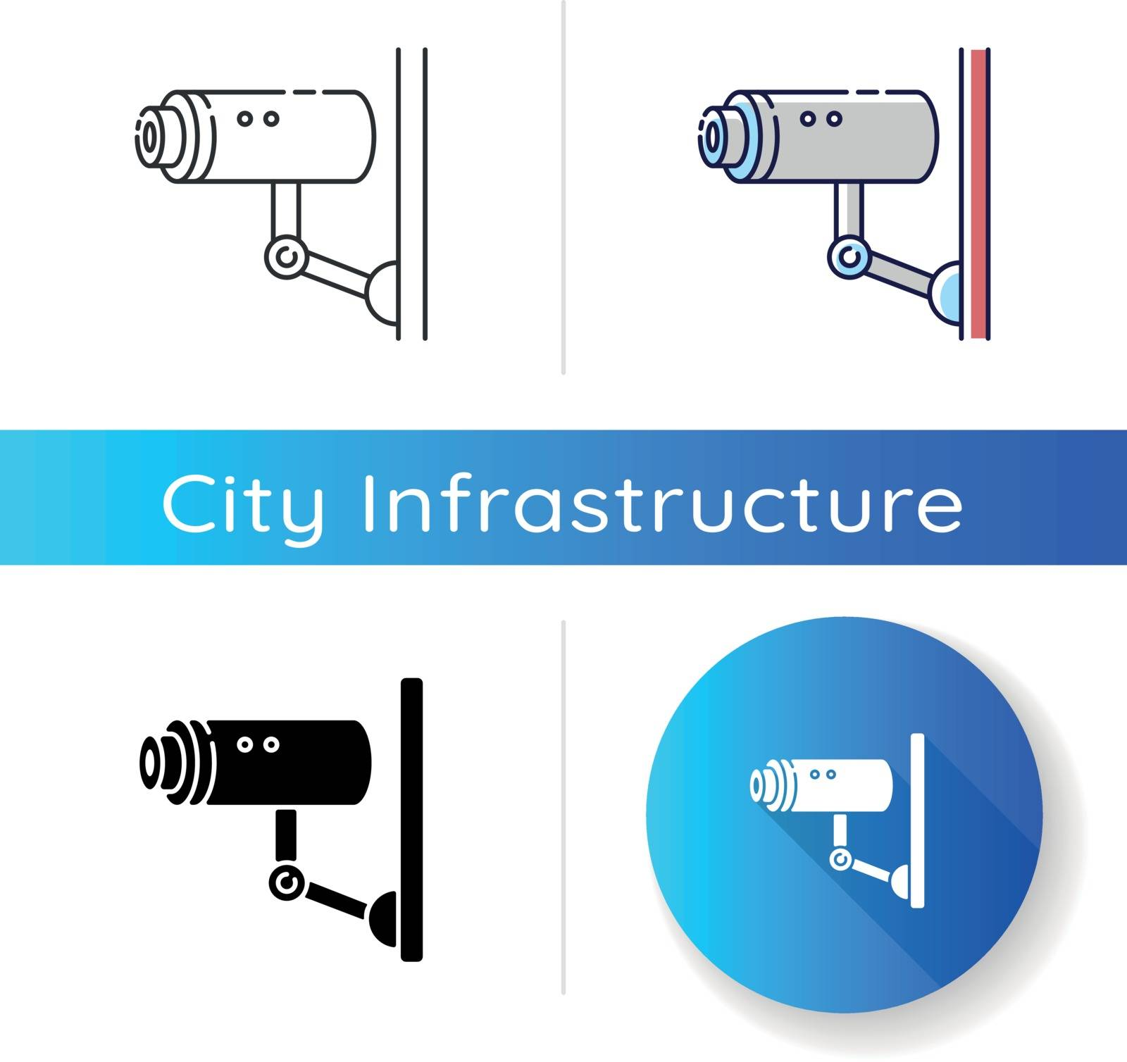 Video surveillance icon. Security camera for private safety. CCTV for monitoring area. Observe zone for danger of theft. Linear black and RGB color styles. Isolated vector illustrations