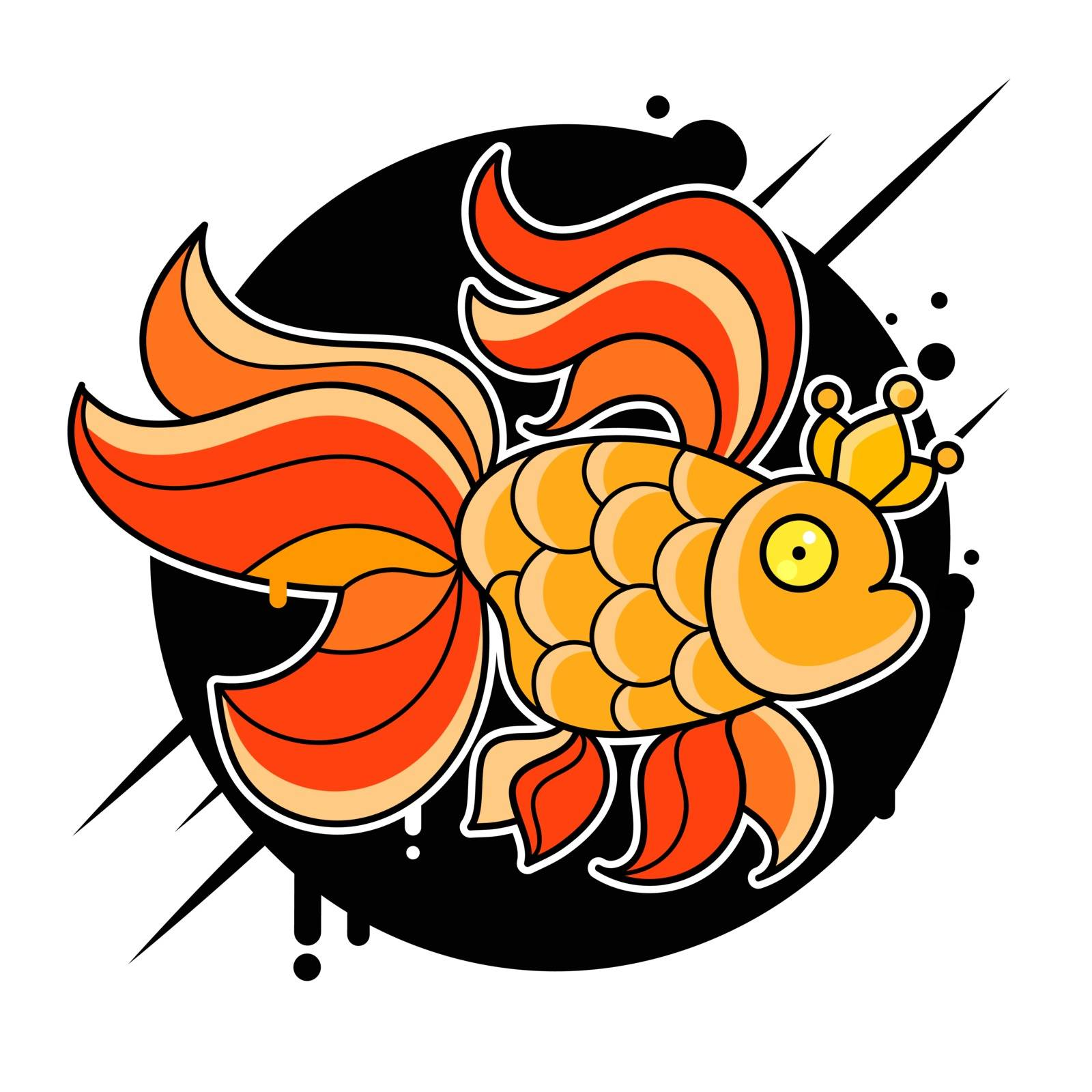 Gold Fish Logo Vector Illustration Suitable For Greeting Card, Poster Or T-shirt Printing.