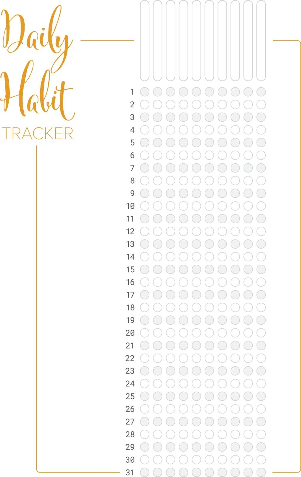 Daily habit tracker template by orson