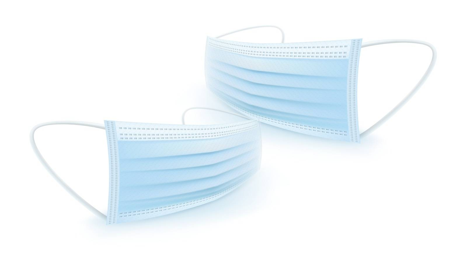illustration of a realistic three layer face mask pair
