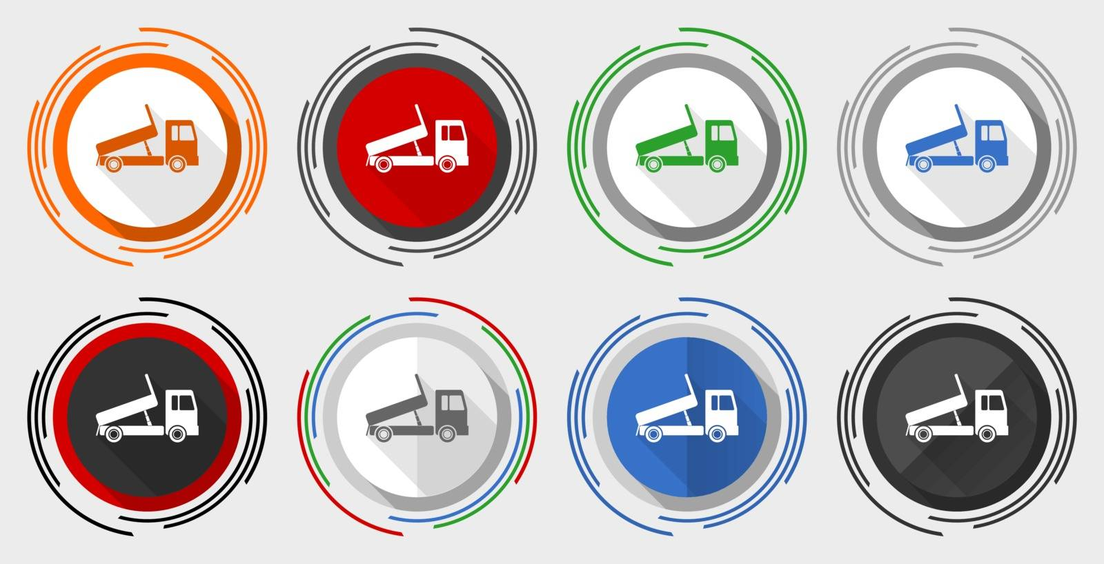 Dump truck vector icon set, transport, transportation modern design flat graphic in 8 options for web design and mobile applications by alexwhite