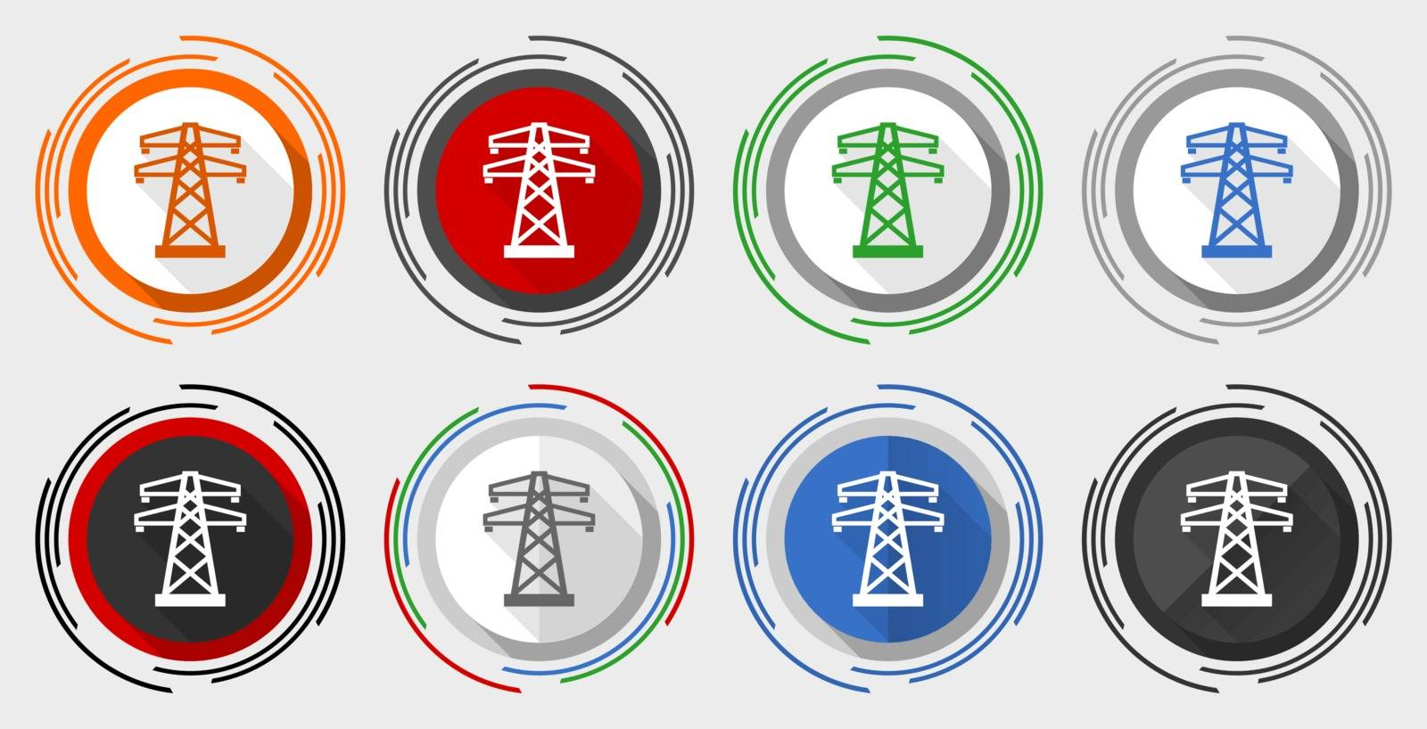 Power, energy tower modern design flat graphic in 8 options for web design and mobile applications by alexwhite