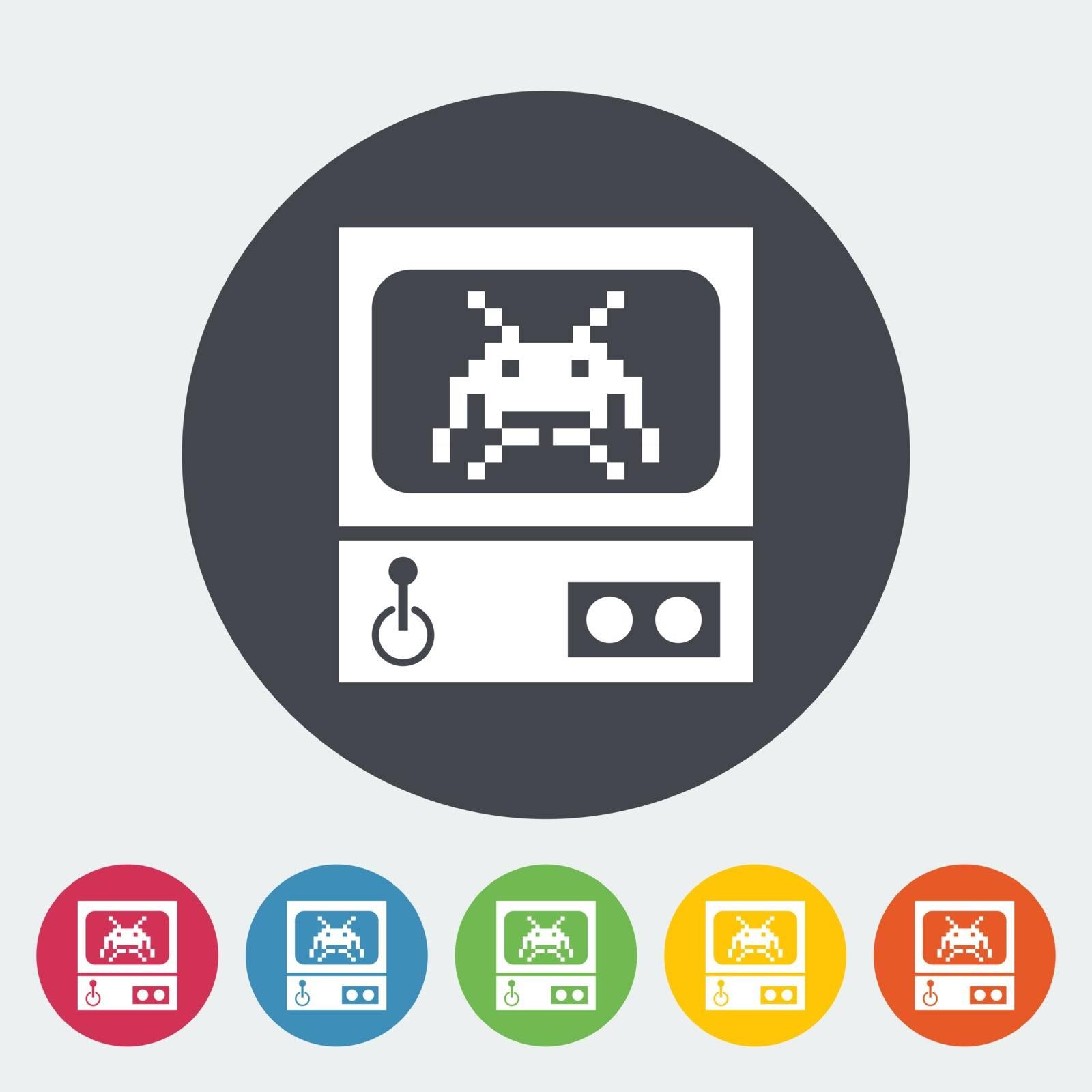 Retro Arcade Machine. Single flat icon on the circle button. Vector illustration.