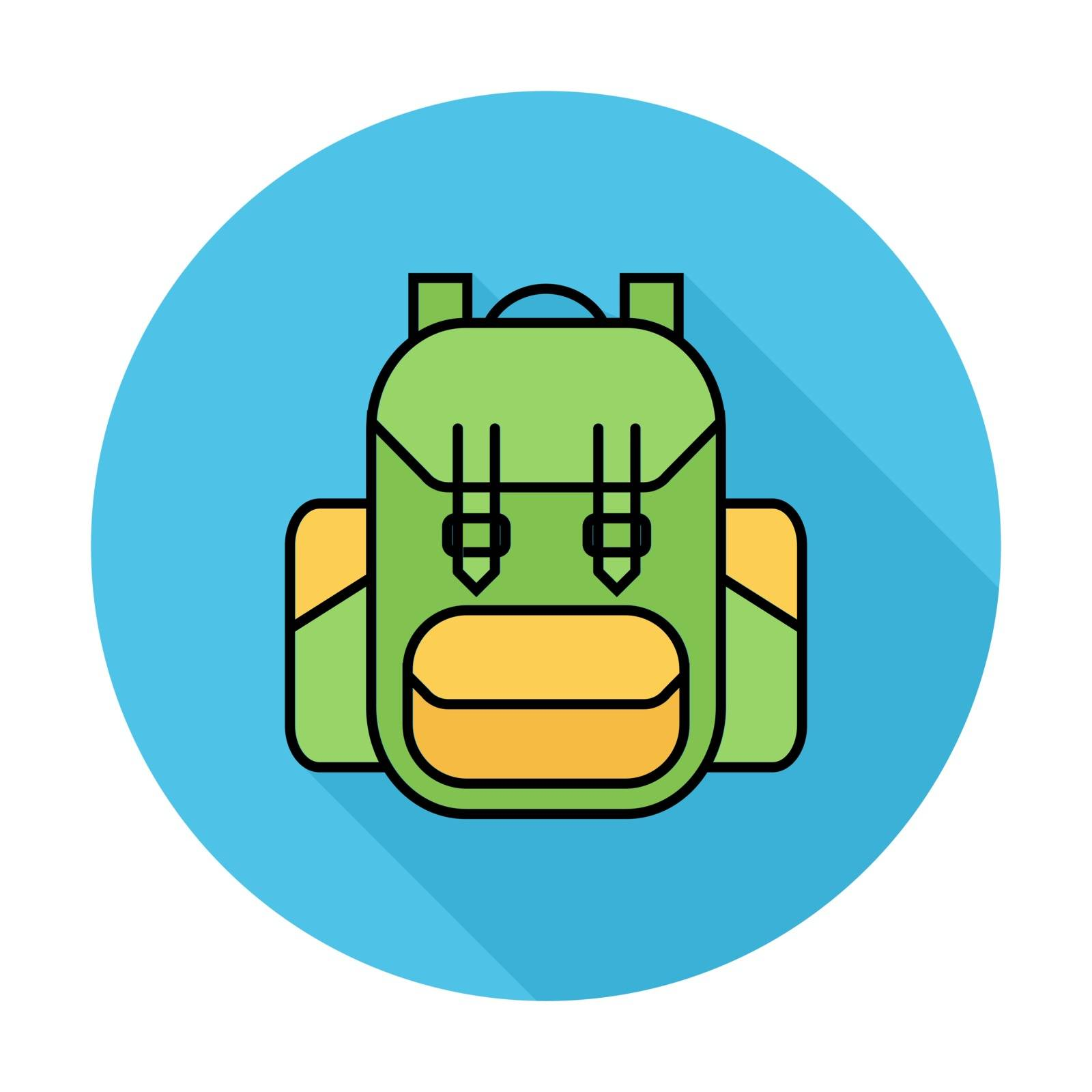 Rucksack. Single flat color icon on the circle. Vector illustration.