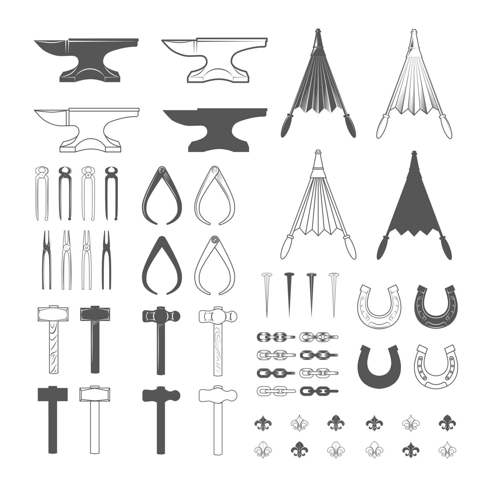 Blacksmith tools. Vintage Style. Vector Illustration isolated on white background.