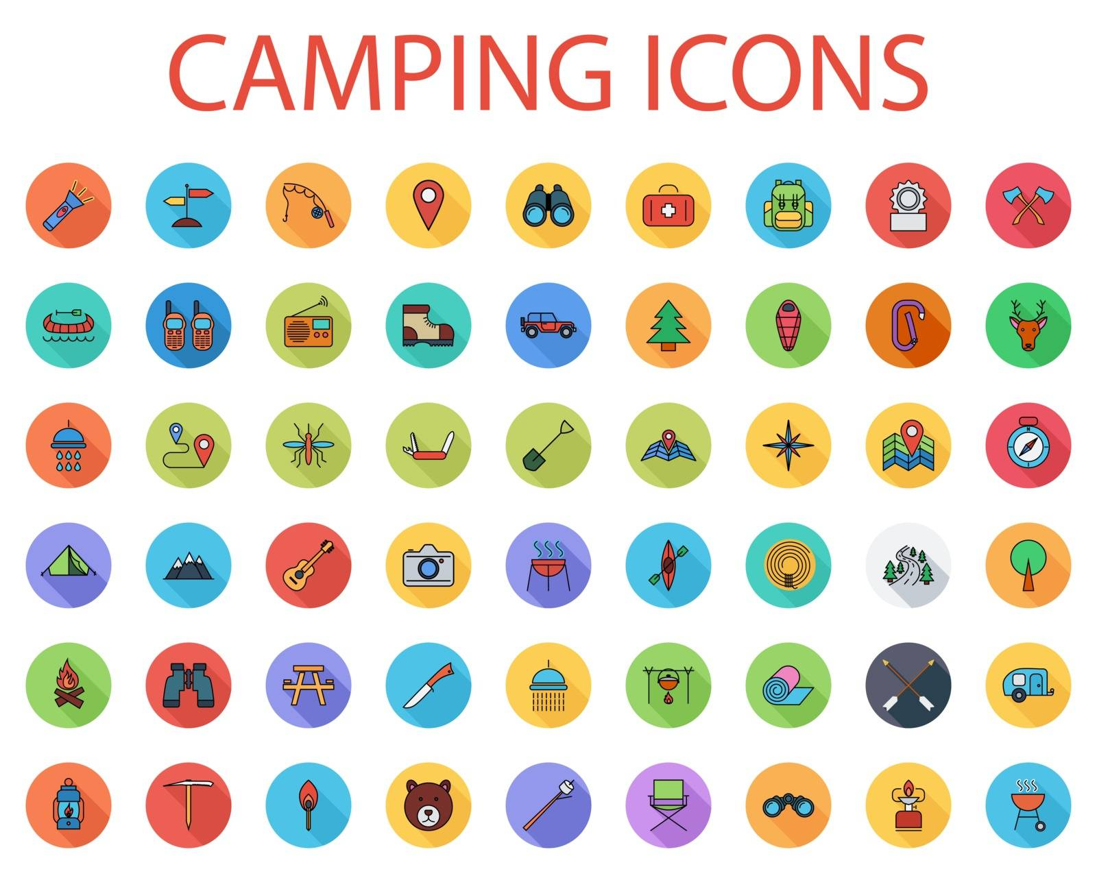 Camping icons set. Flat vector related icon set with long shadow for web and mobile applications. It can be used as - logo, pictogram, icon, infographic element. Vector Illustration.