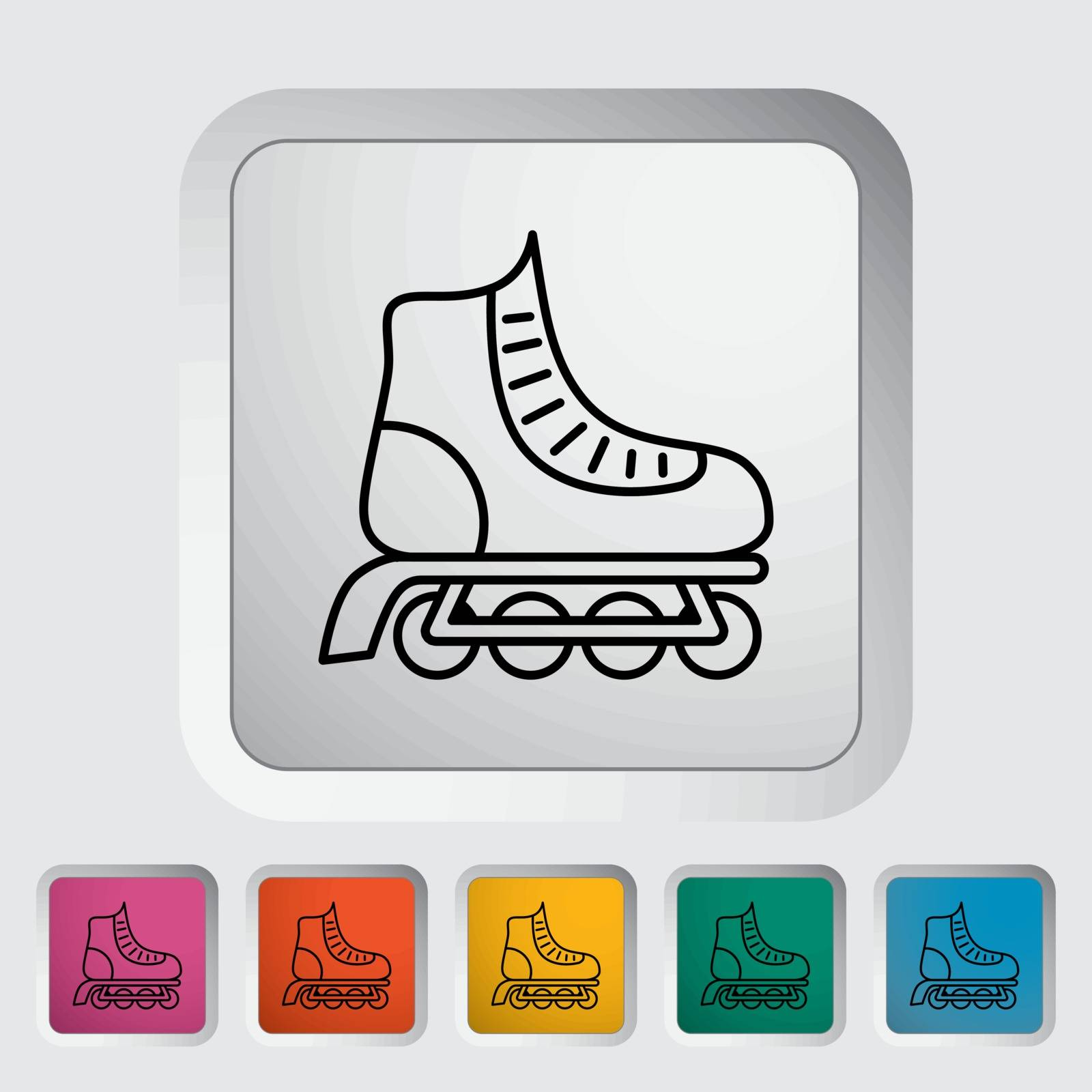 Roller skate thin line flat vector related icon set for web and mobile applications. It can be used as - pictogram, icon, infographic element. Vector Illustration.