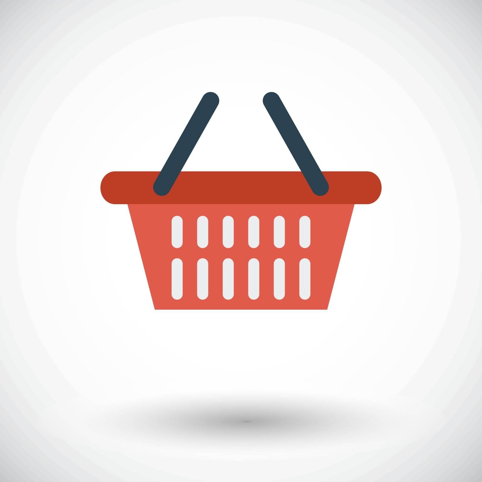 Shopping basket. Single flat icon on white background. Vector illustration.