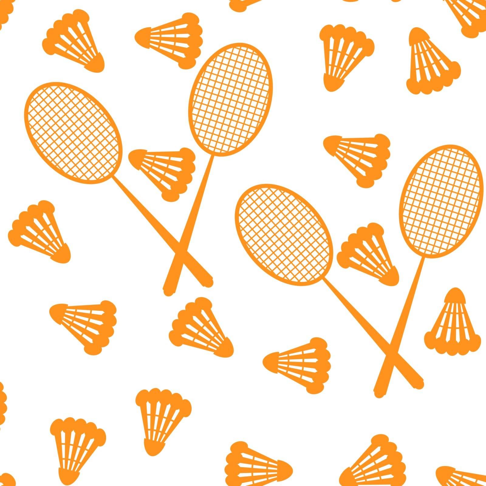 Badminton - shuttlecock and racket. Summer sport and relaxation. Vector illustration. Seamless pattern by victosha