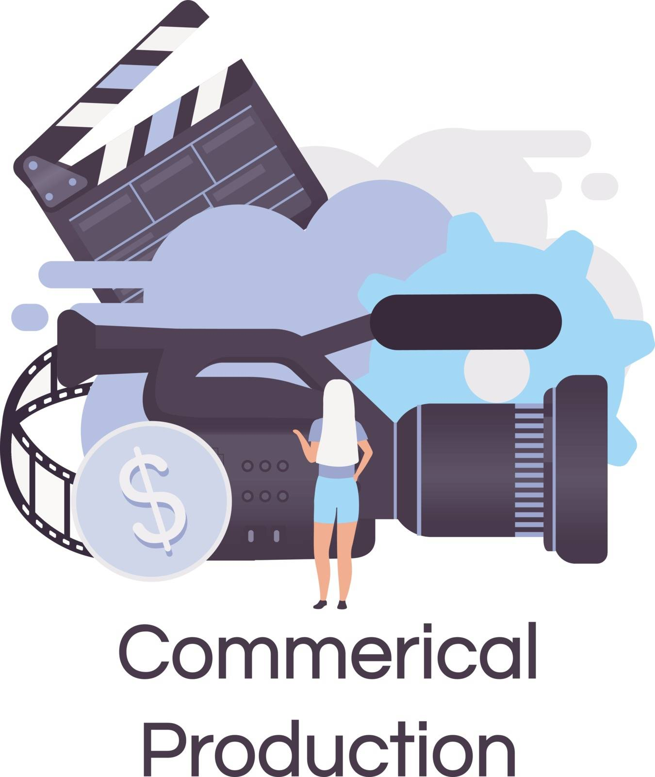Commercial production flat concept icon. Videography, photography and filmmaking sticker, clipart. TV advertisement and promotion shooting. Isolated cartoon illustration on white background