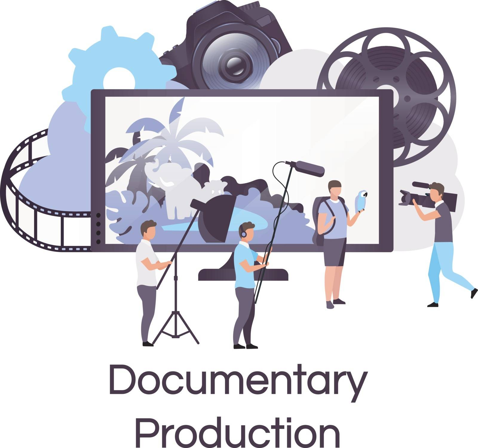 Documentary production flat concept icon. Filmmaking, broadcasting and cinematography sticker, clipart. Director, actor and cameraman crew. Isolated cartoon illustration on white background