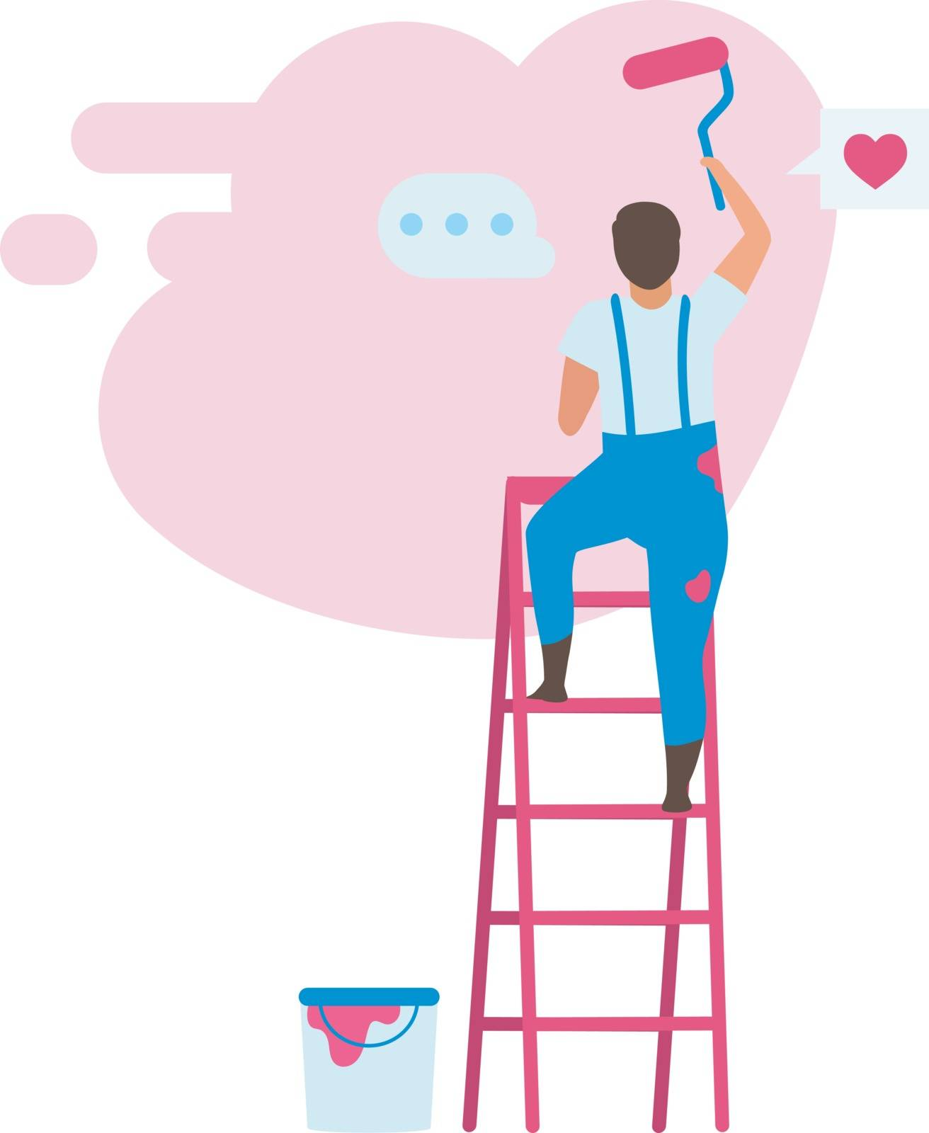 Young man choosing color for interior design flat vector illustration. Painter painting wall with roller brush on ladder cartoon character. Home service and house reconstruction. Apartment repair