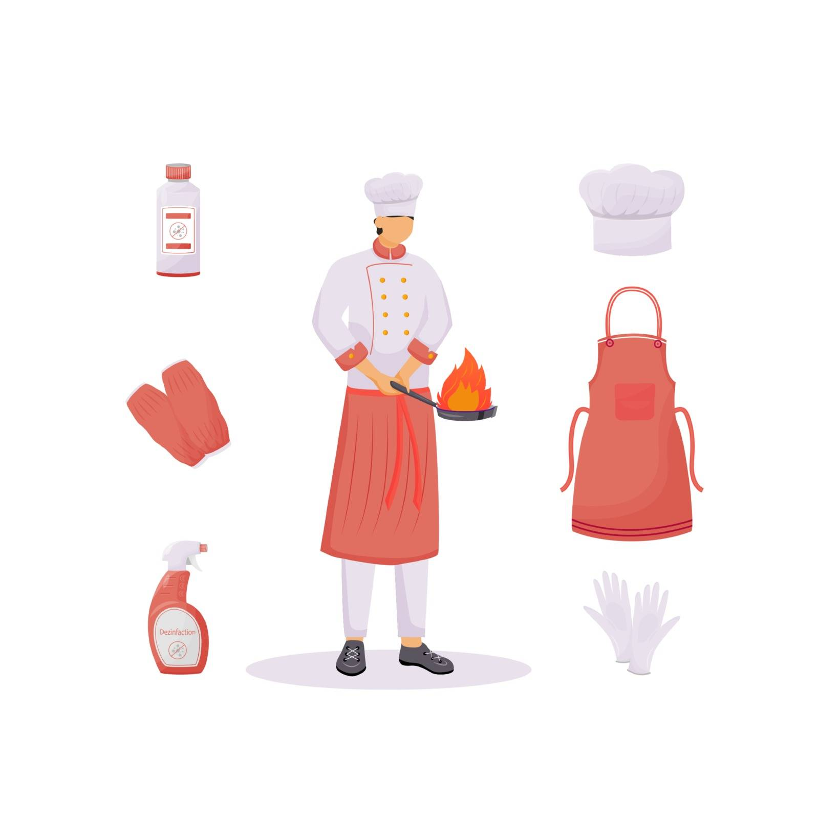 Kitchen clothes flat concept vector illustration. Hat and apron, sleeve protectors and gloves. Cook 2D cartoon character for web design. Healthcare, cleanliness and disinfection creative idea