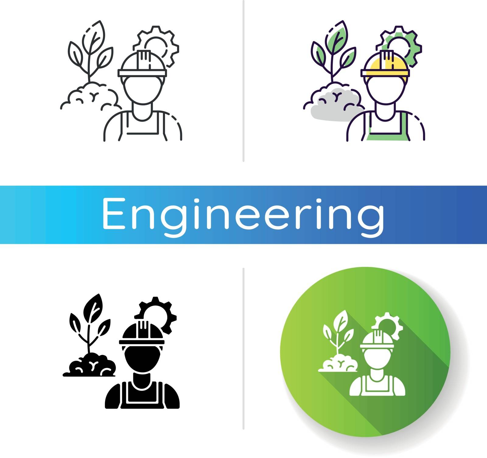 Environmental engineer icon. Safe labor to work in agriculture business. Professional worker for sustainable development. Linear black and RGB color styles. Isolated vector illustrations