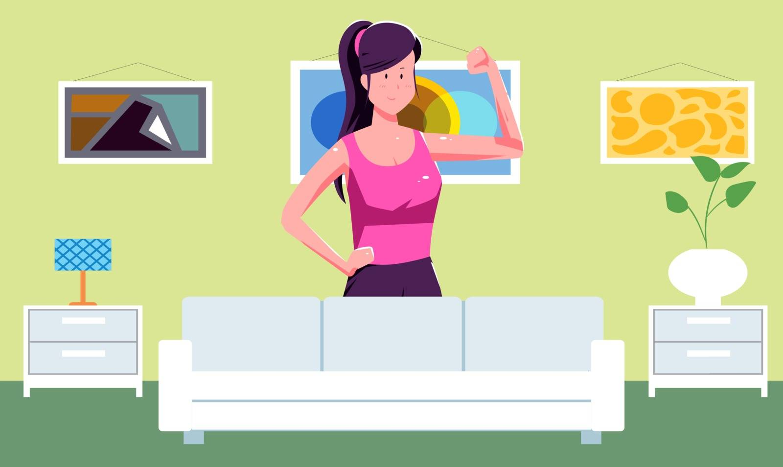 girl doing daily exercise at home by aanavcreationsplus