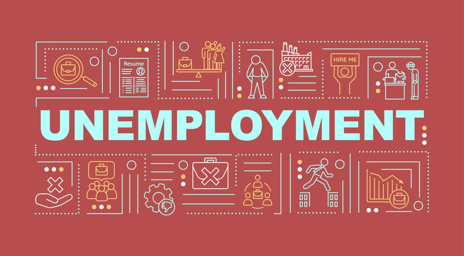 Unemployment word concepts banner. Joblessness problem infographics with linear icons on red background. Lack of jobs, employment issues. Isolated typography. Vector outline RGB color illustration
