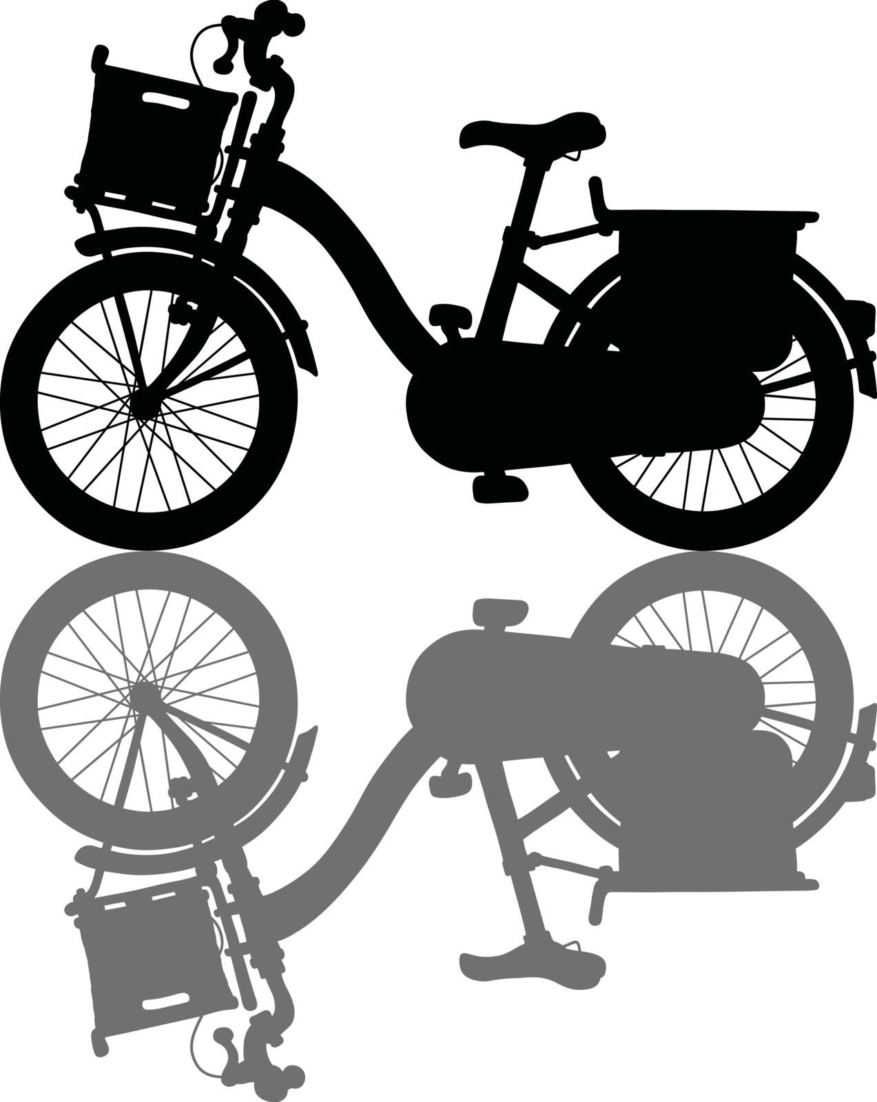 The black silhouette of a classical bicycle